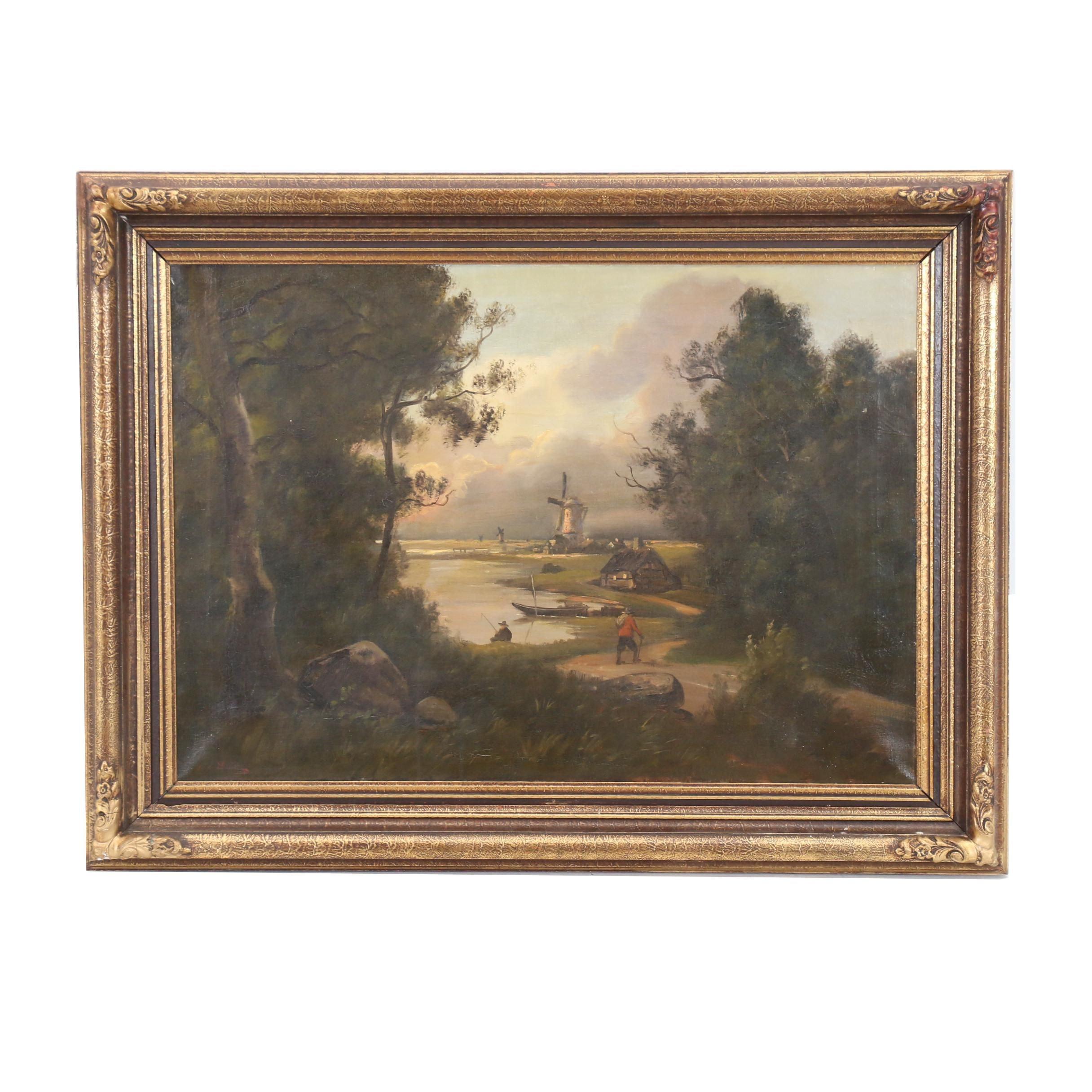 Dutch School Style Landscape Oil Painting