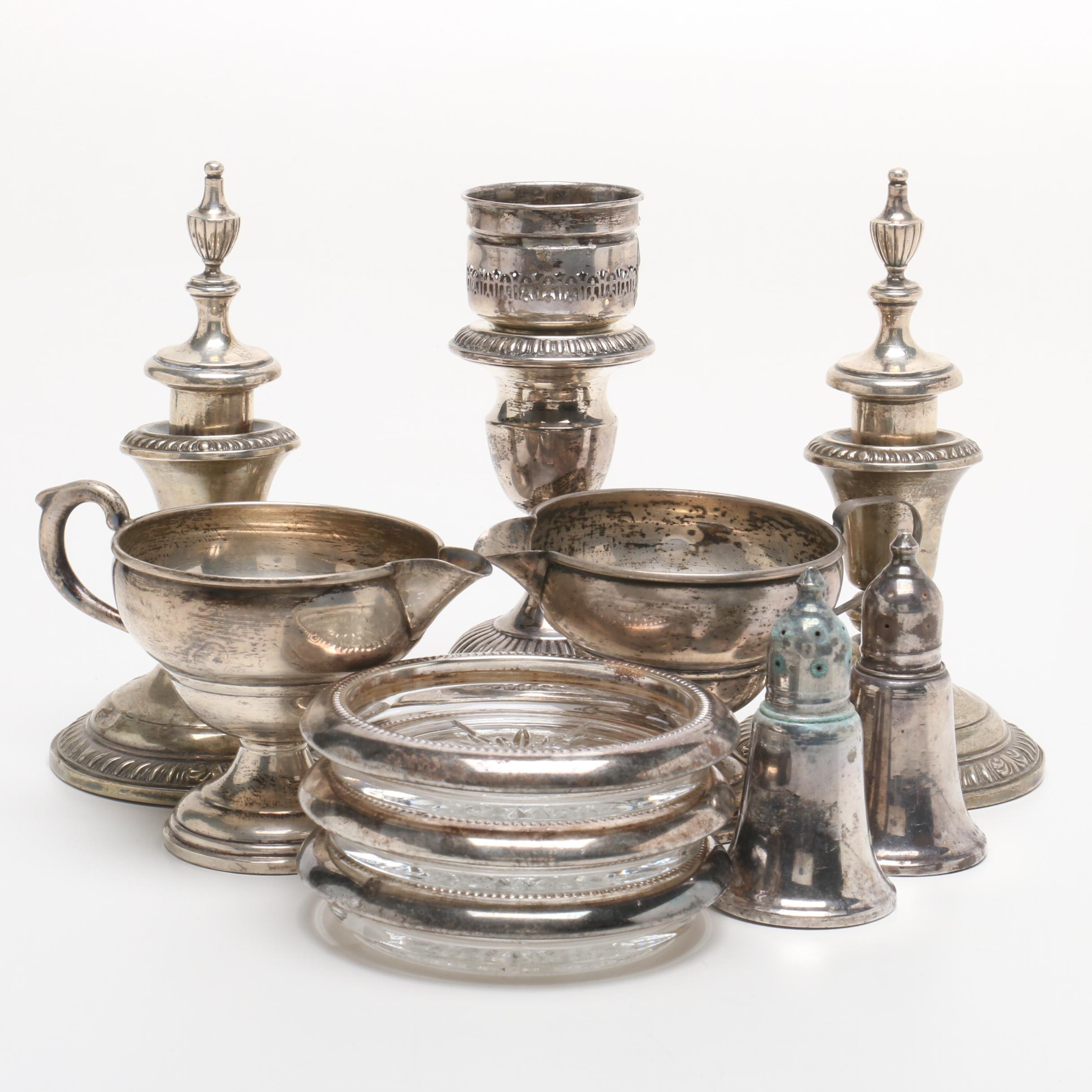 Frank M. Whiting Weighted Sterling Candle Holders and Tableware