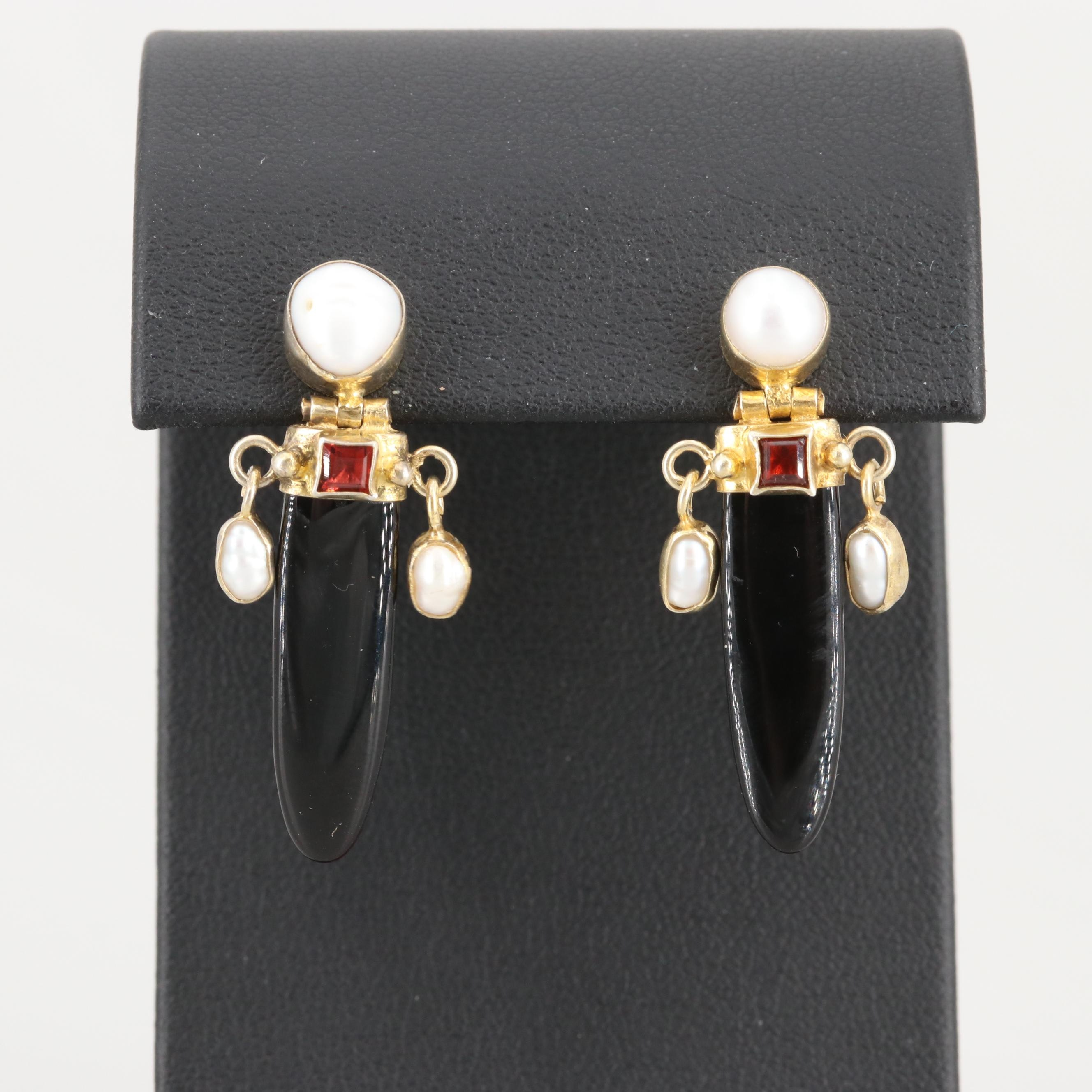 Gold Wash on Sterling Black Onyx, Cultured Pearl and Rhodolite Garnet Earrings
