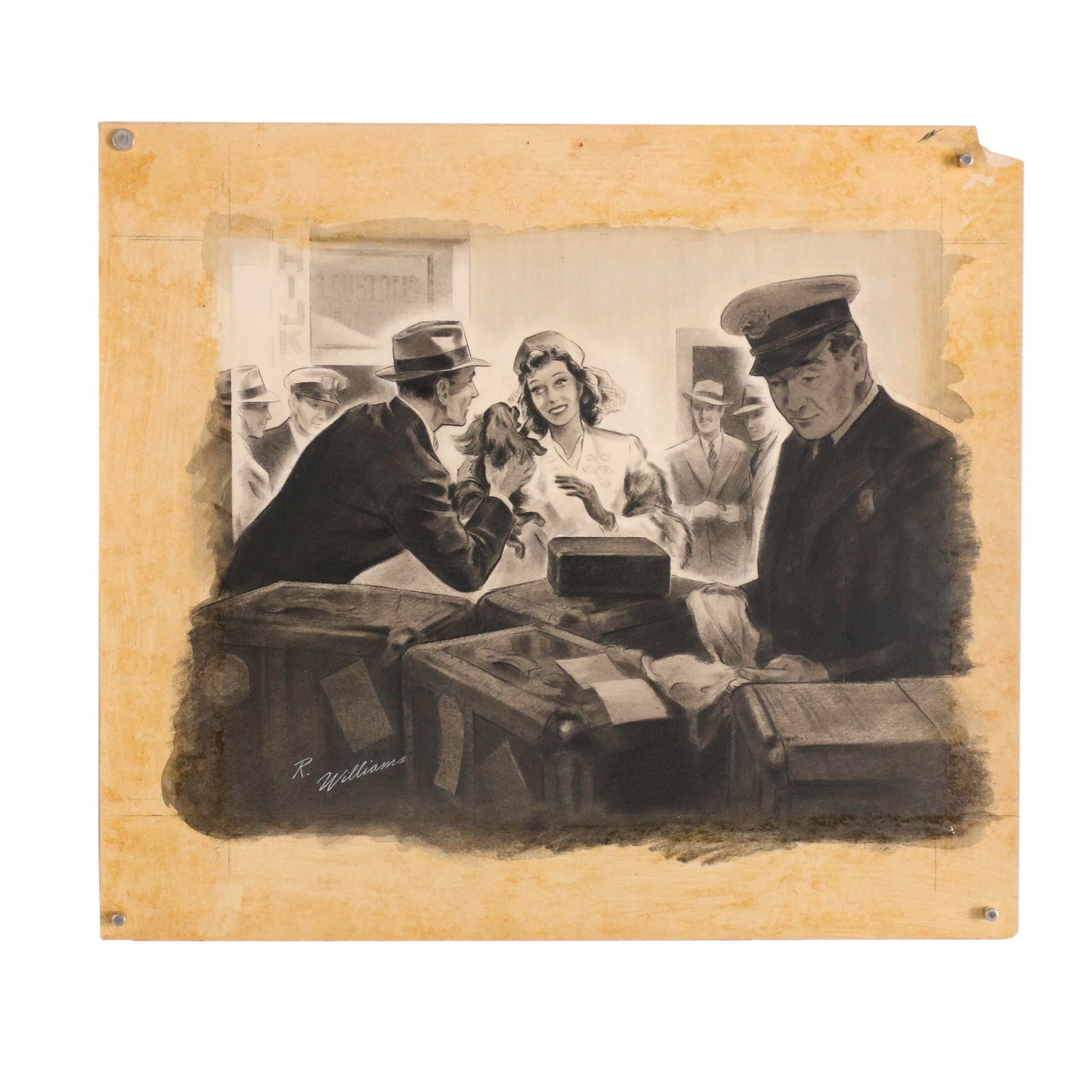 Richard F. Williams Ink and Charcoal Illustration of Travel Genre Scene
