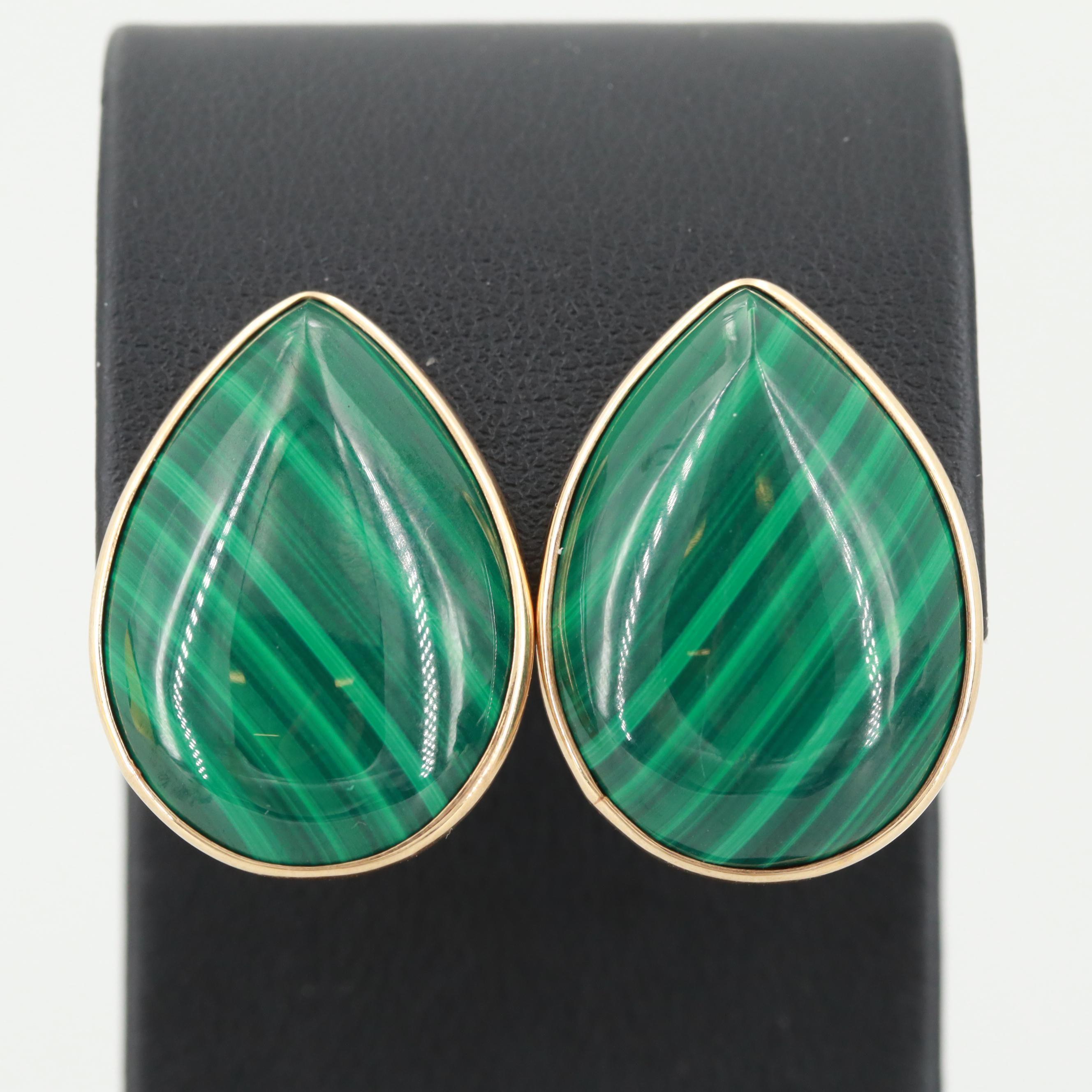 14K Yellow Gold Malachite Cabochon Earrings