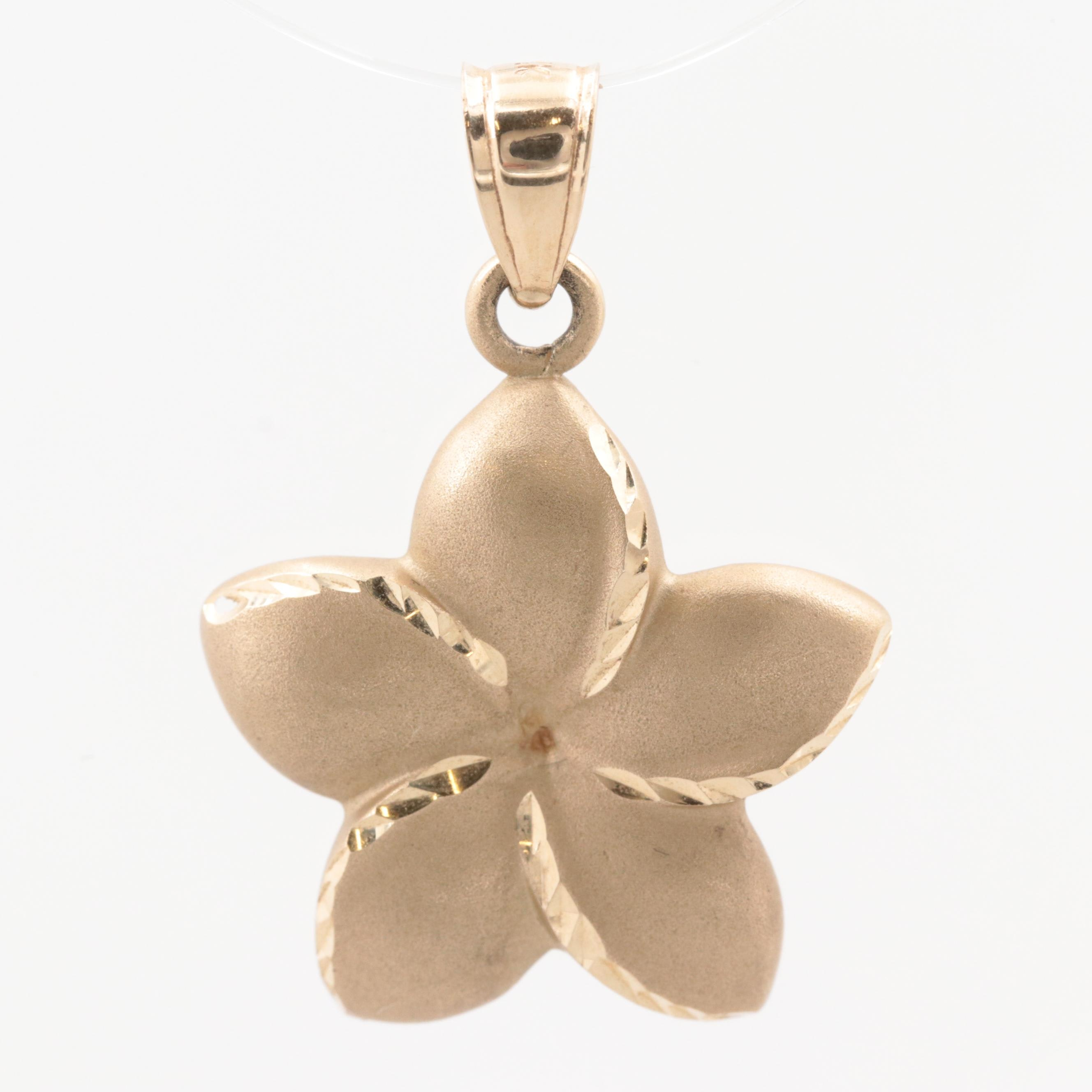 14K Yellow Gold Flower Pendant