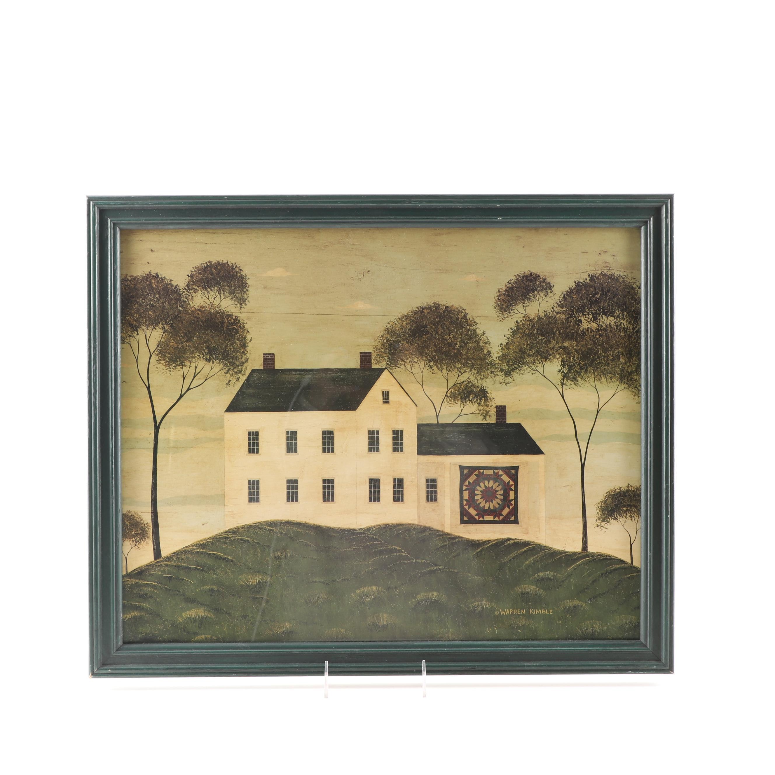 """Offset Lithograph after Warren Kimble """"House Quilt"""""""