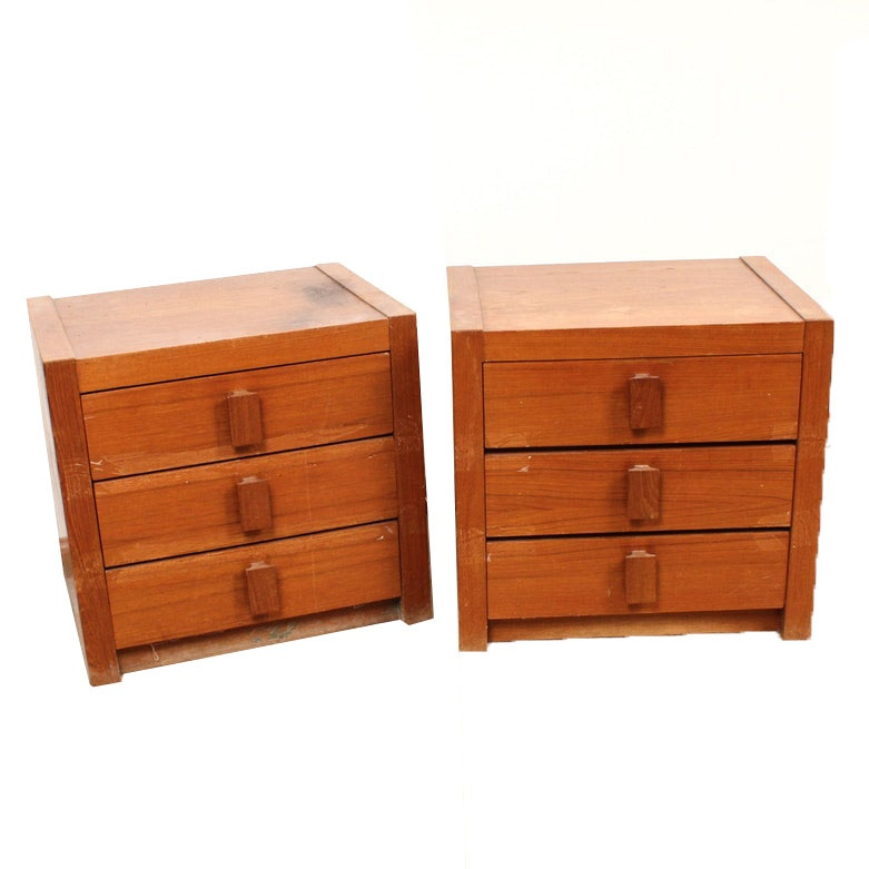 Vintage Wood Side Tables with Drawers