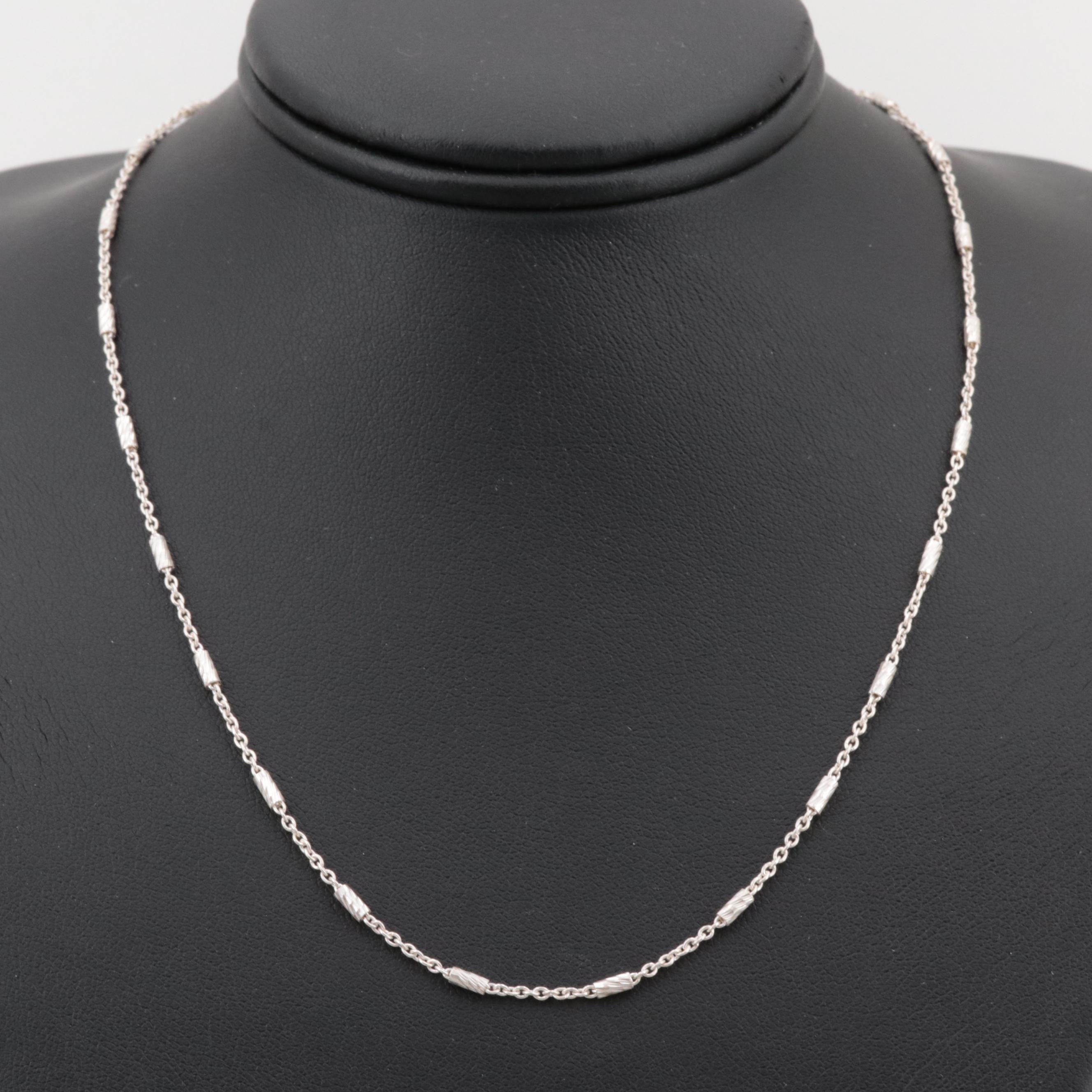 Sterling Silver Cable Necklace with Tube Bead Stations