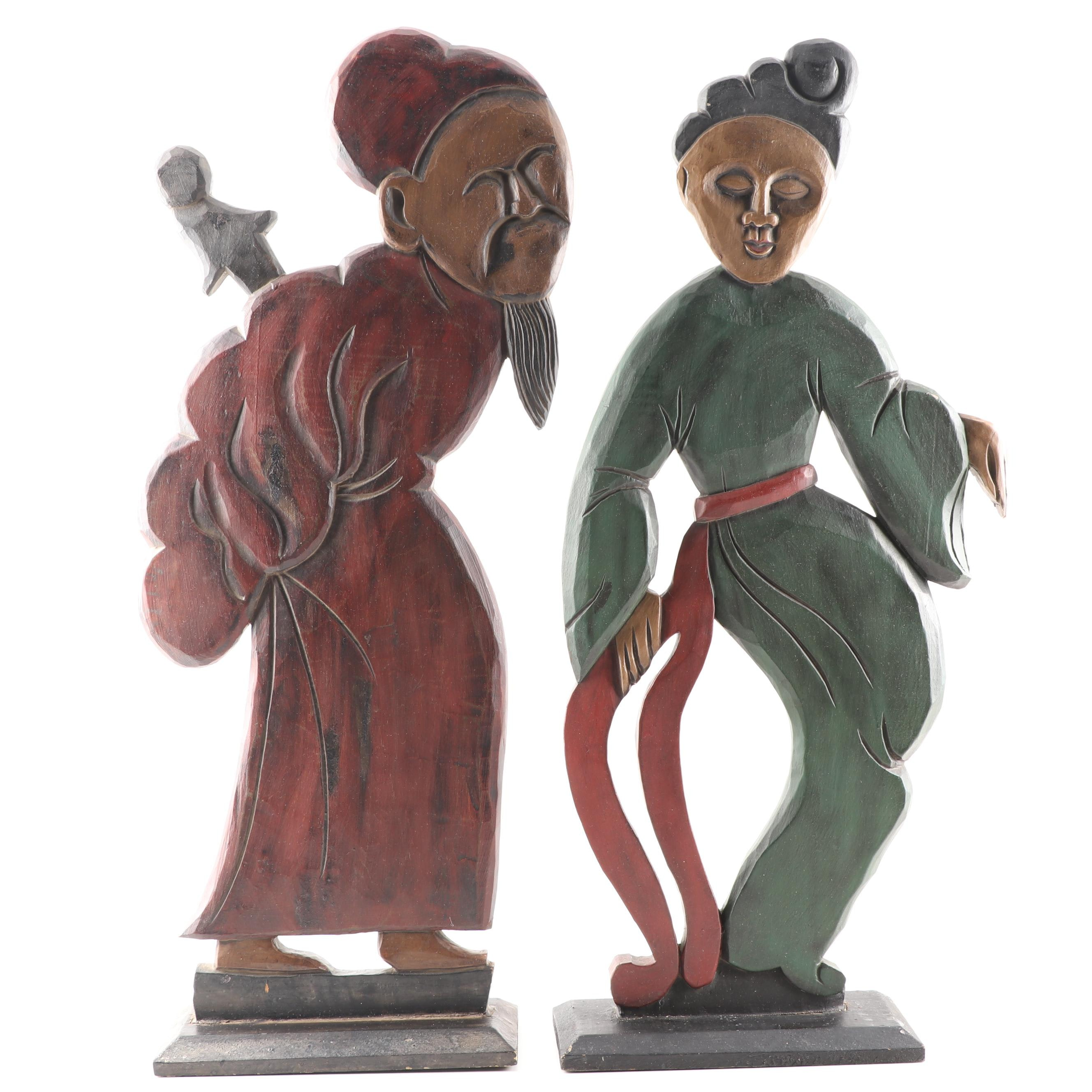 Chinese Inspired Wooden Standing Figurines