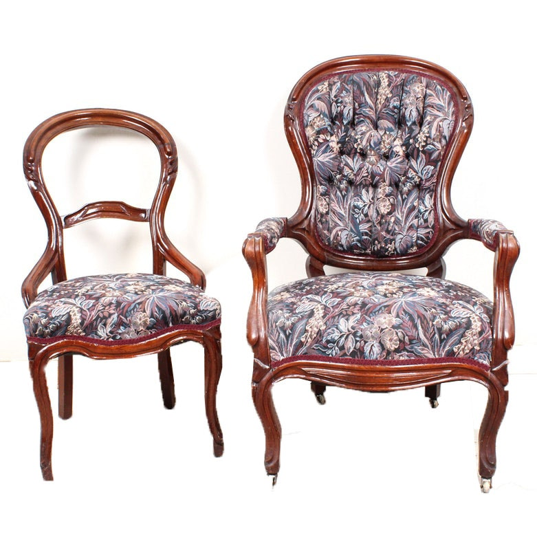 Vintage Wood Frame Parlor Chairs