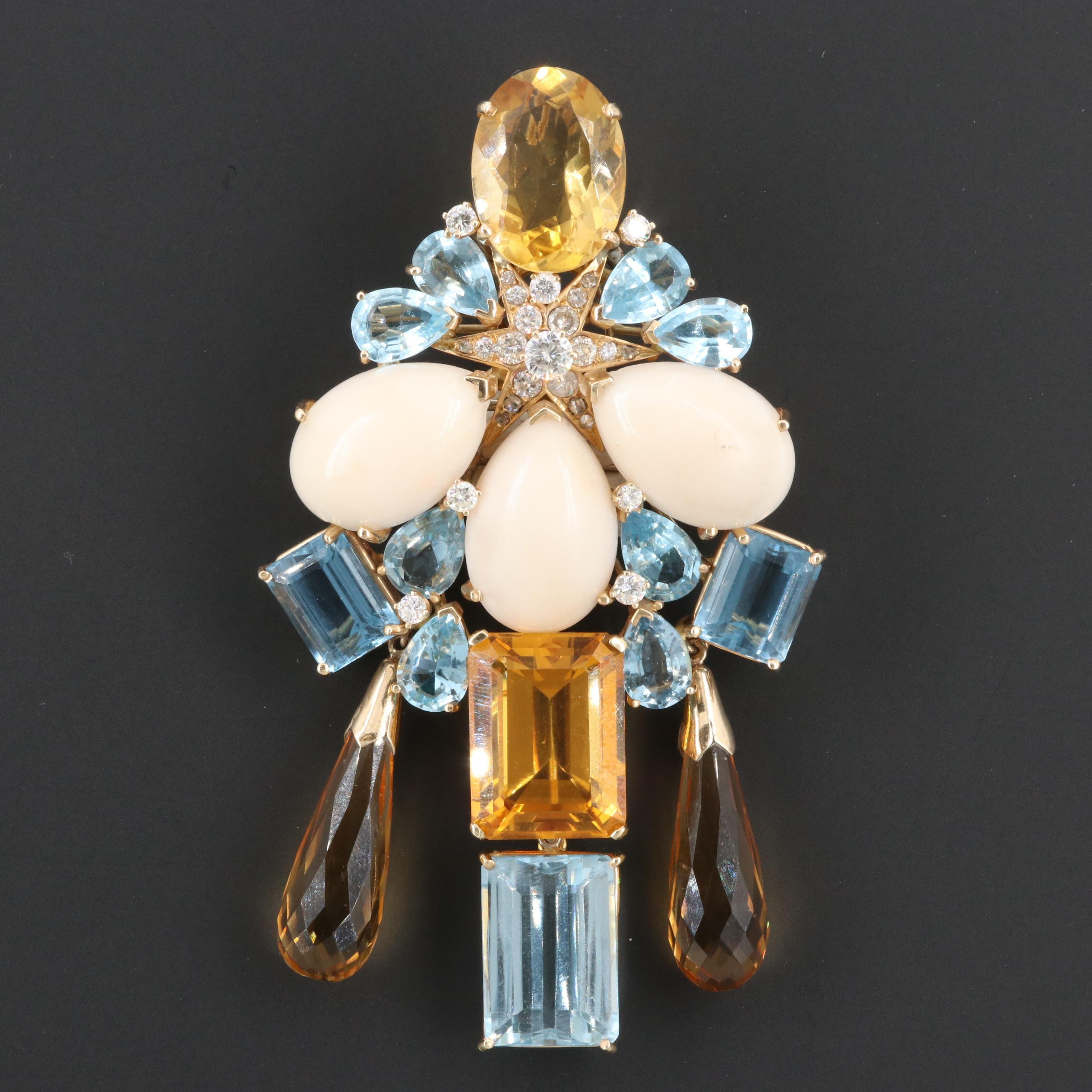 14K Yellow Gold 1.89 CTW Diamond, Coral, Blue Topaz and Citrine Brooch