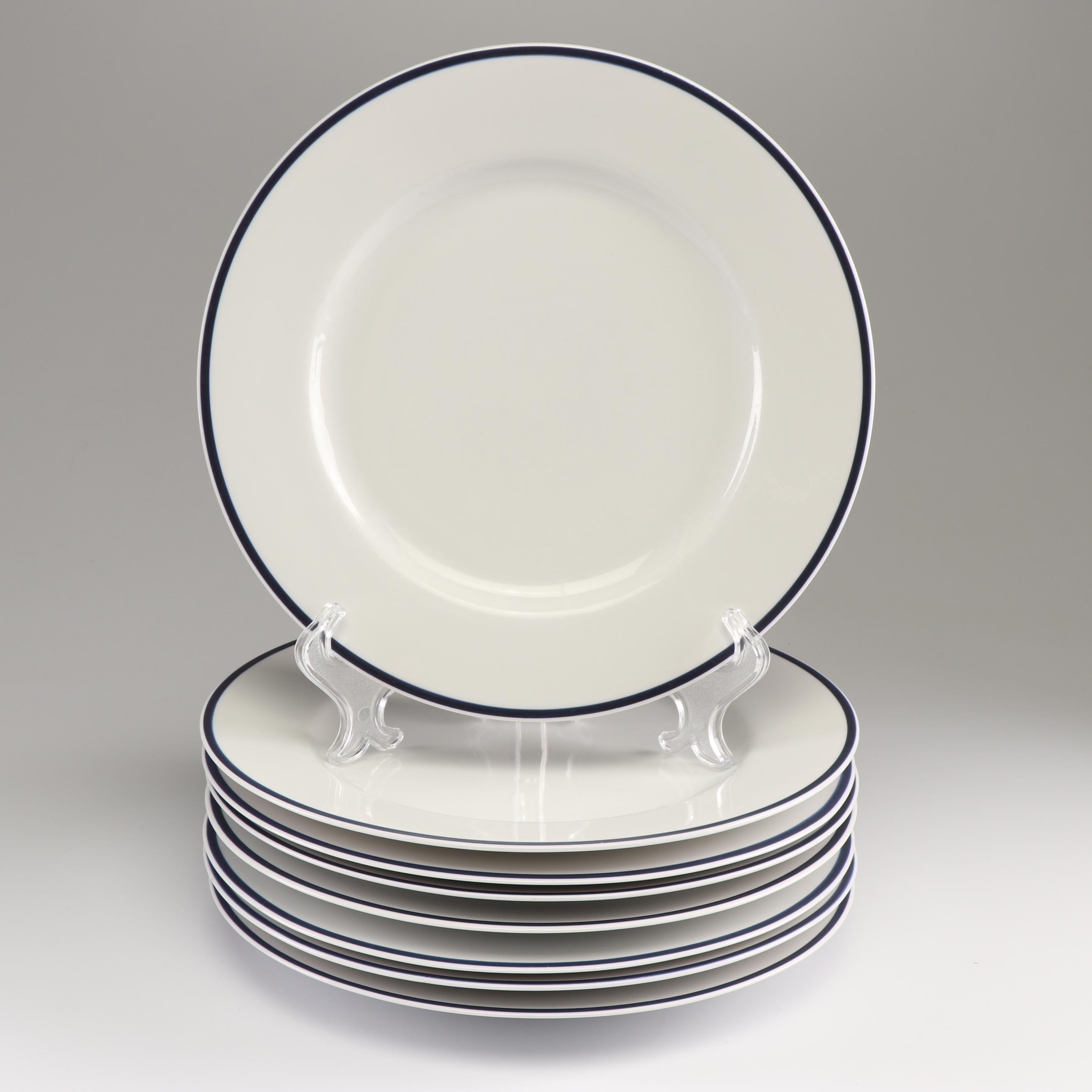 """Crate & Barrel """"Monno"""" Cobalt Blue Rimmed Dinner Plates"""