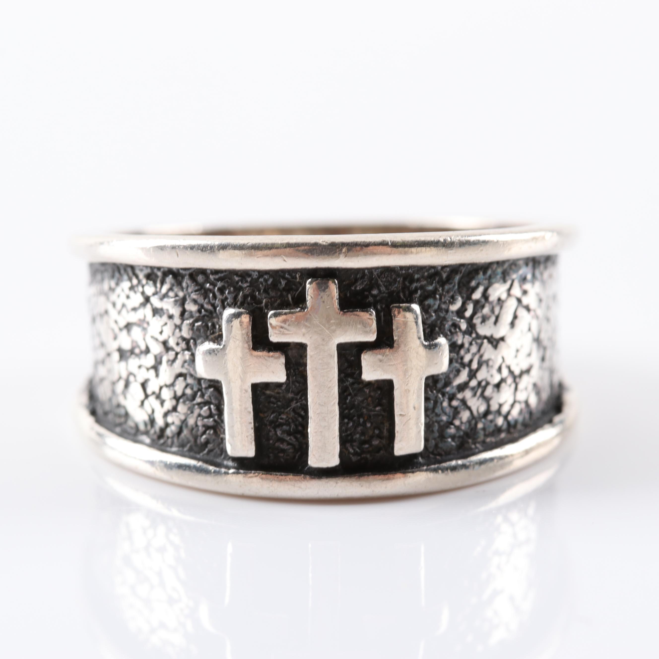 Sterling Silver Trinity Cross Ring