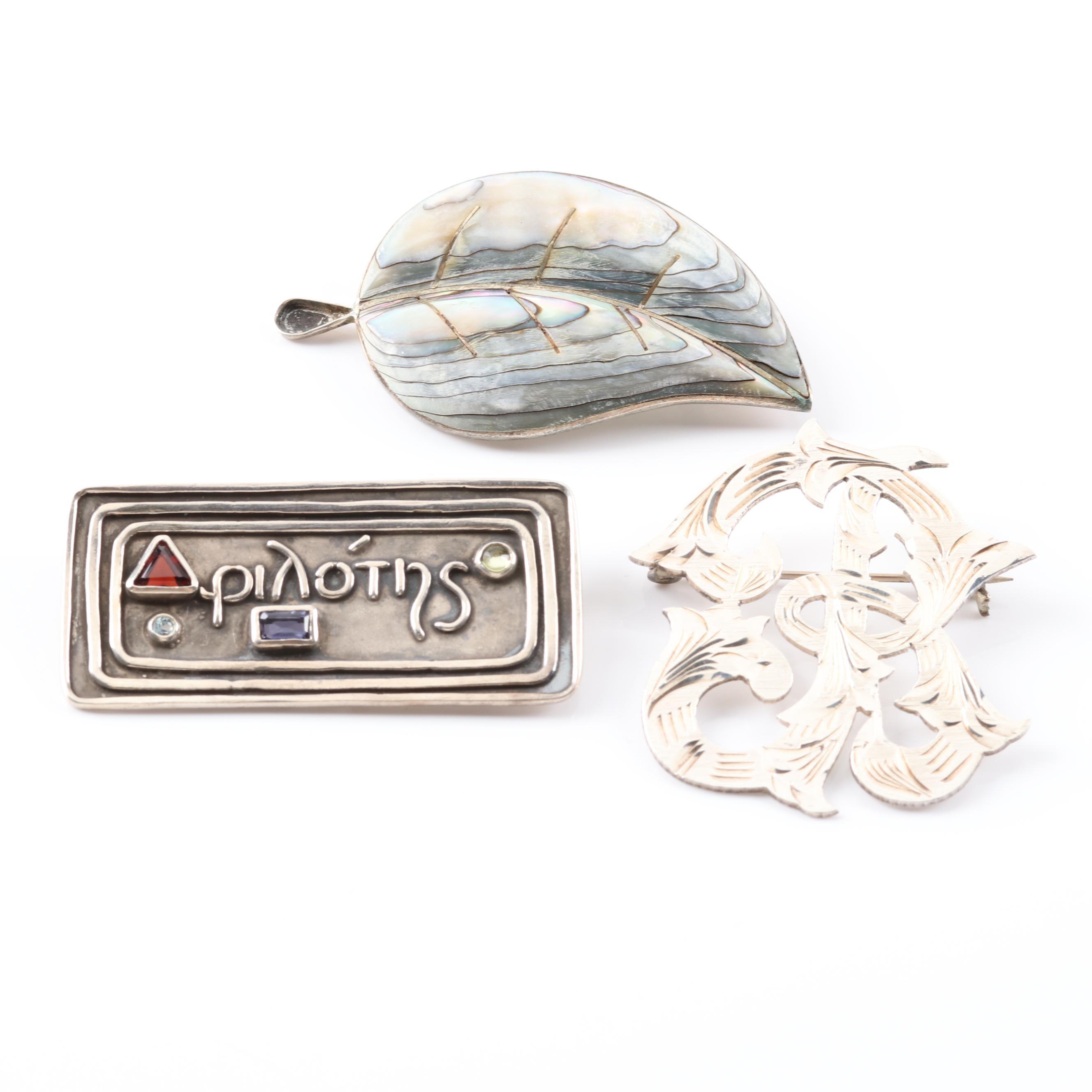 Sterling Silver Multi-Gemstone Brooches