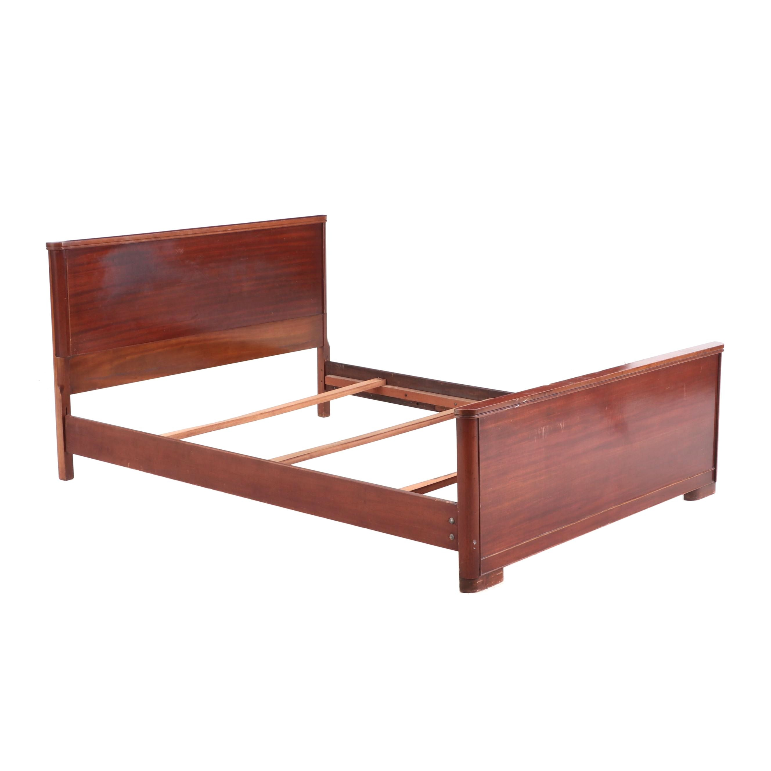 Vintage Full Size Bed Frame in Walnut with Slats