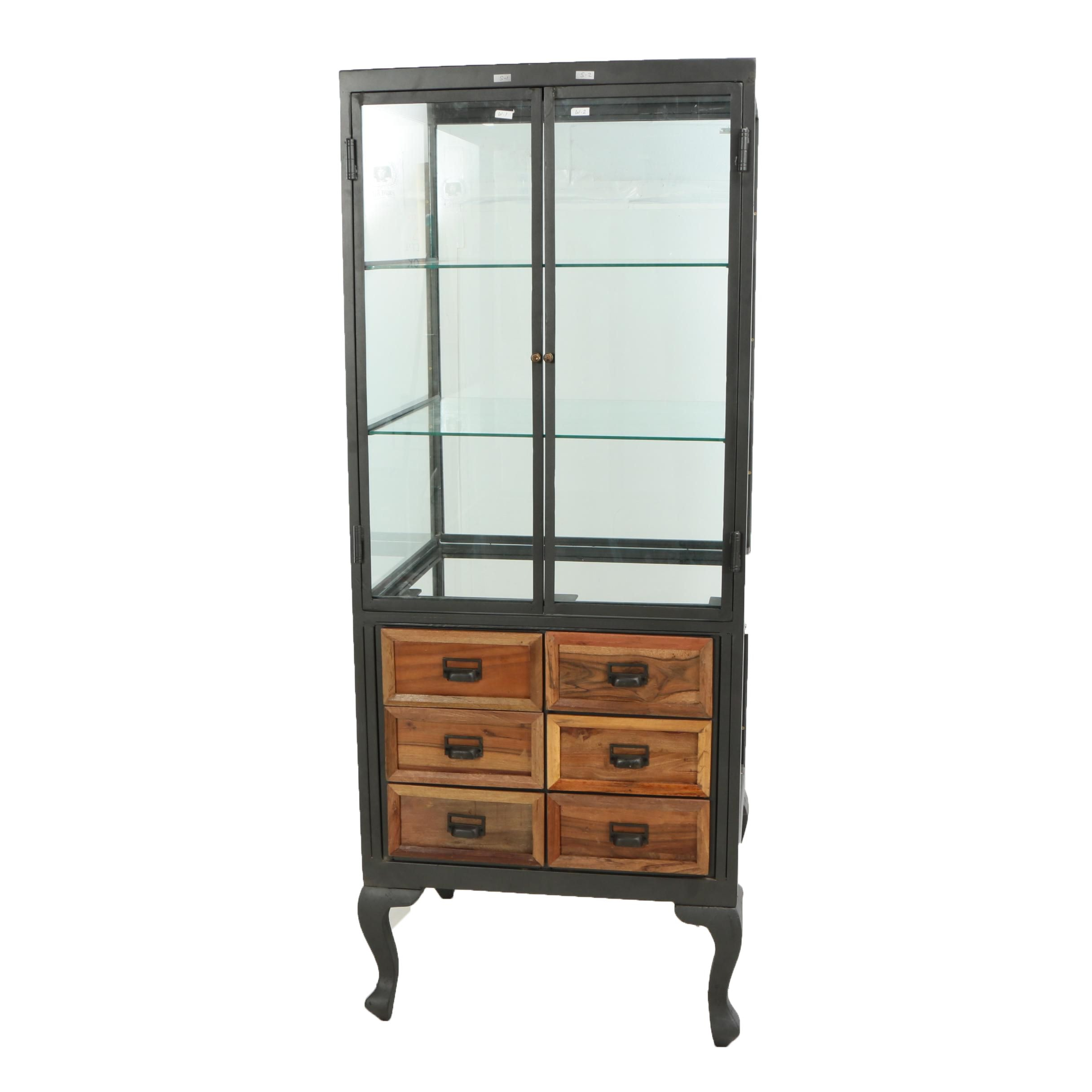 "Industrial Style ""Savile Row"" Pine and Metal Display Case"