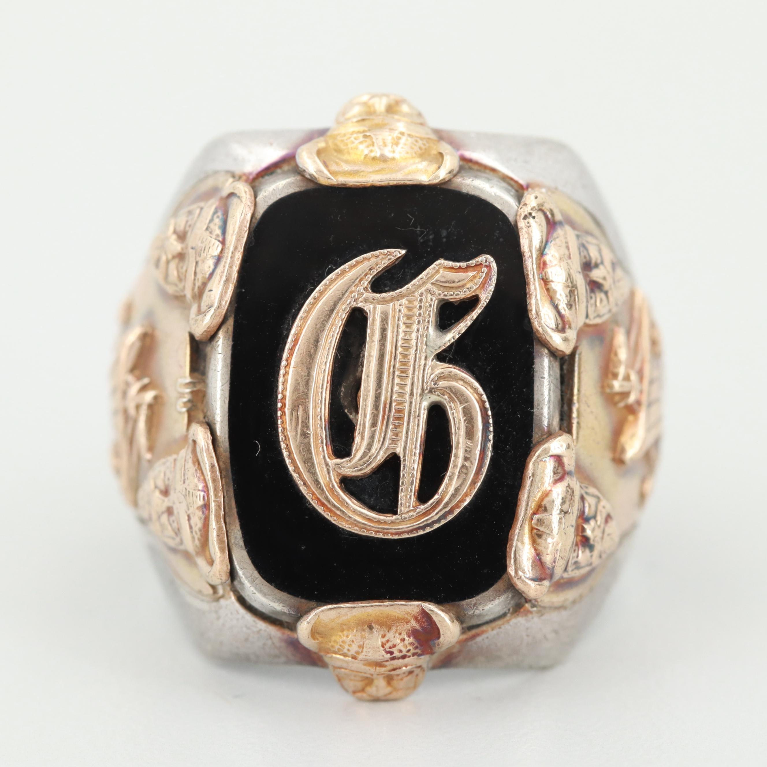 Vintage Osbee Sterling and Gold Filled Resin Monogram Ring