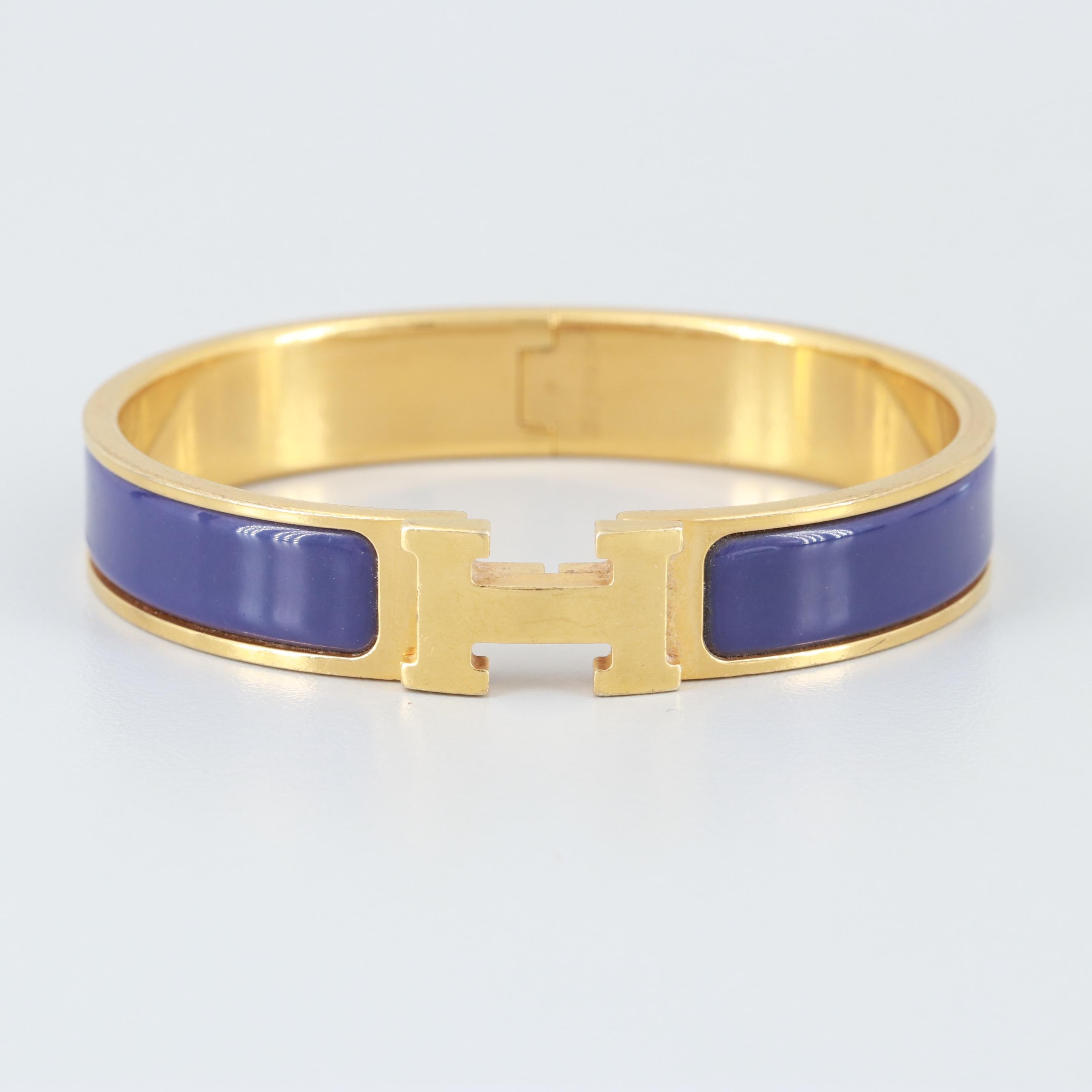 "Hermès Gold Tone Enamel Hinged Bangle ""Clic Clac H"" Bracelet"