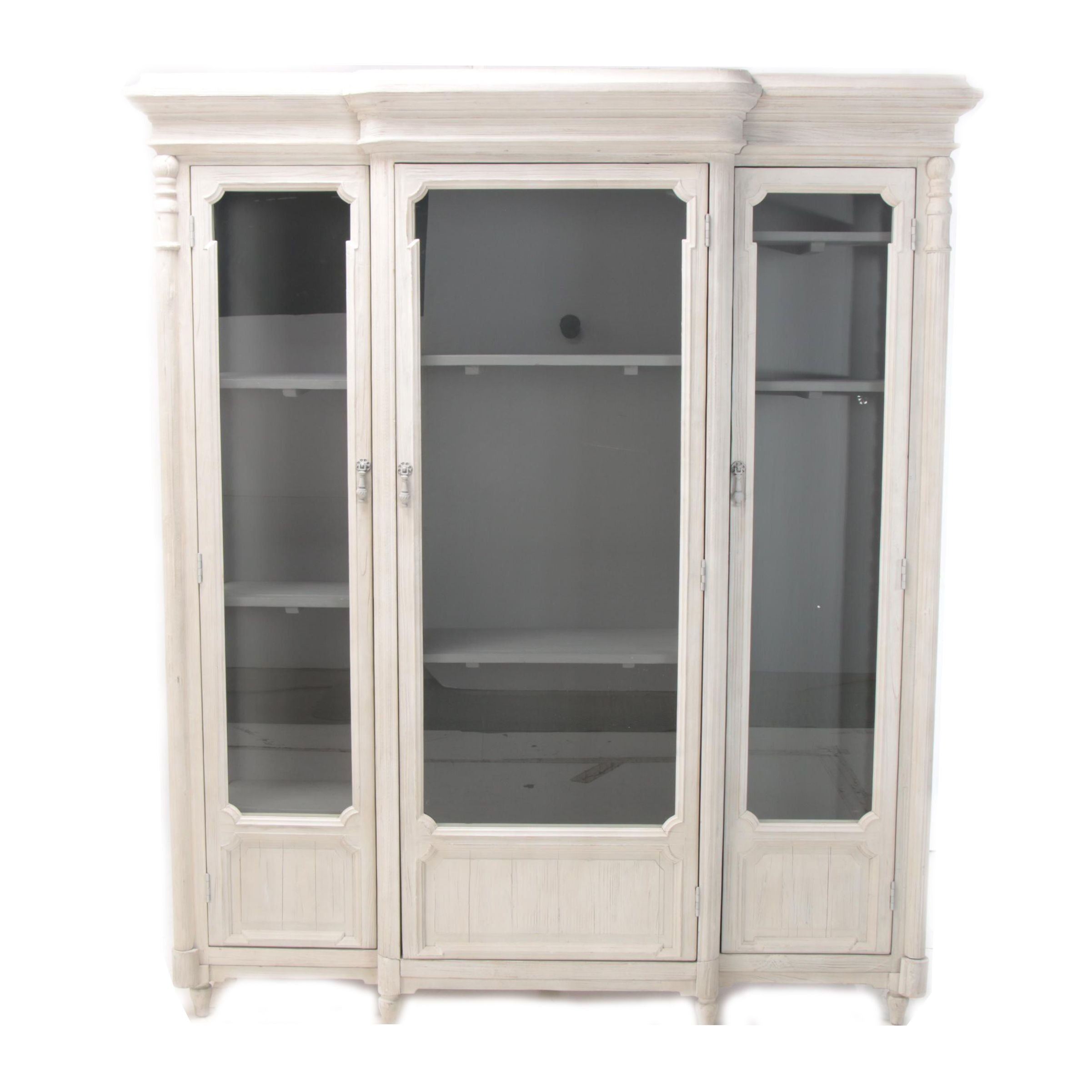 "French Provincial Style ""Chantilly"" Painted Pine Breakfront Display Cabinet"