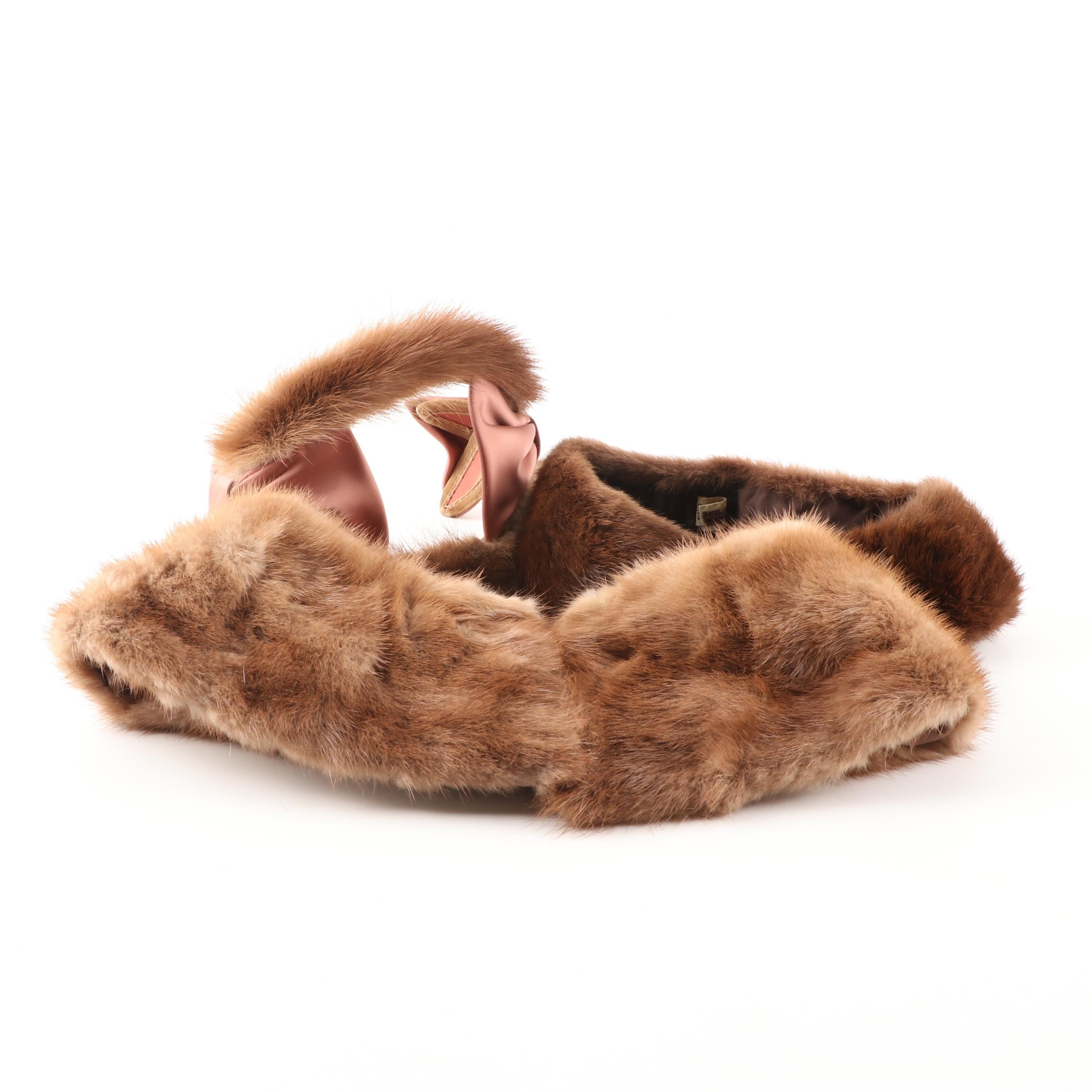 Women's Natural Mink Fur Collars and a Hat, Vintage