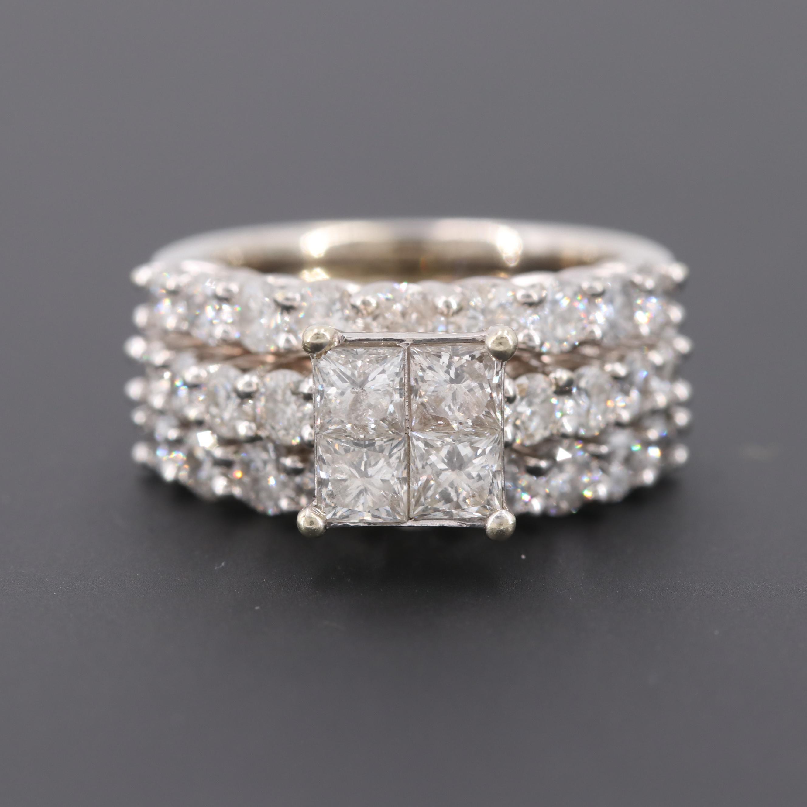 14K White Gold 4.06 CTW Diamond Ring