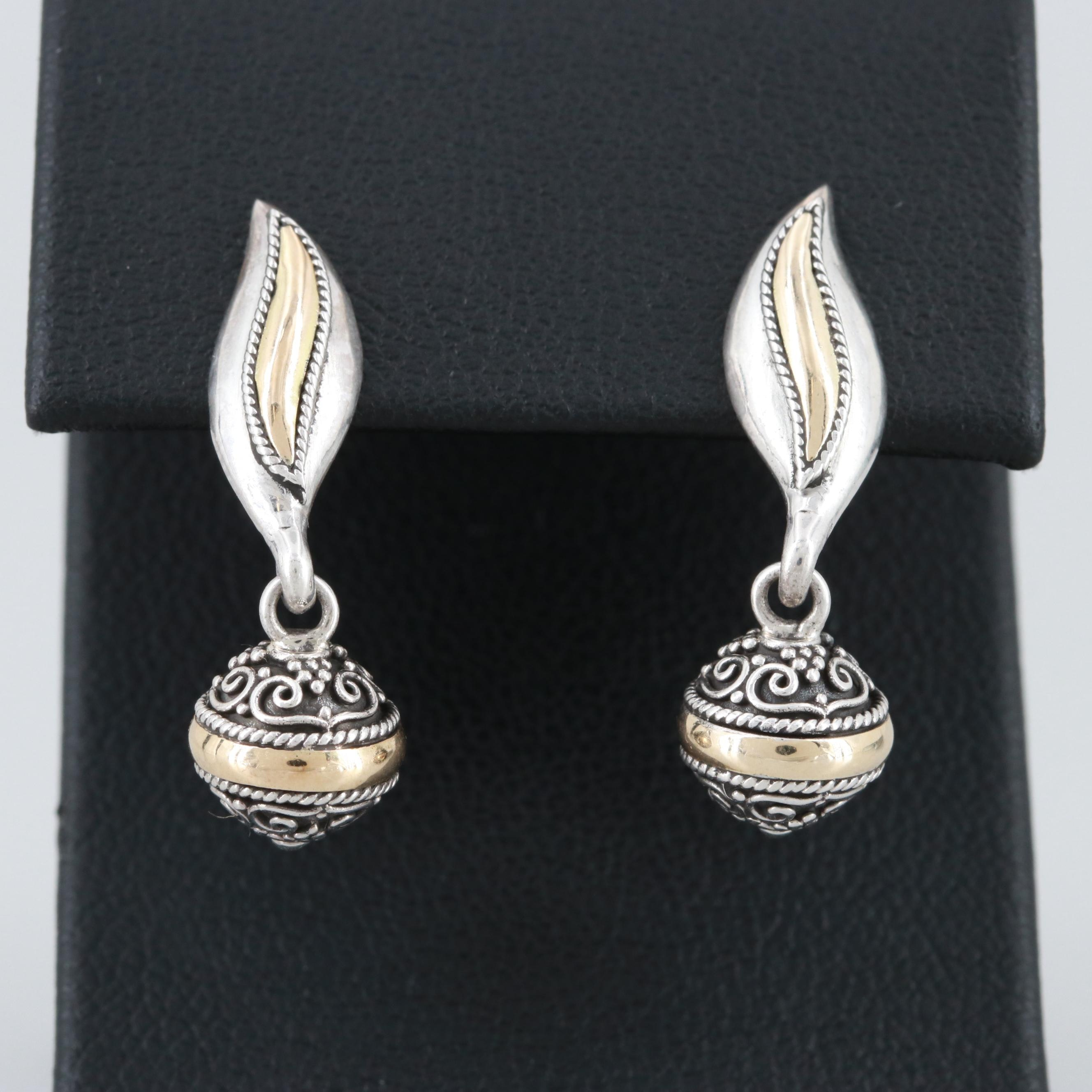 Sterling Silver Dangle Earrings with 14K Yellow Gold Accent