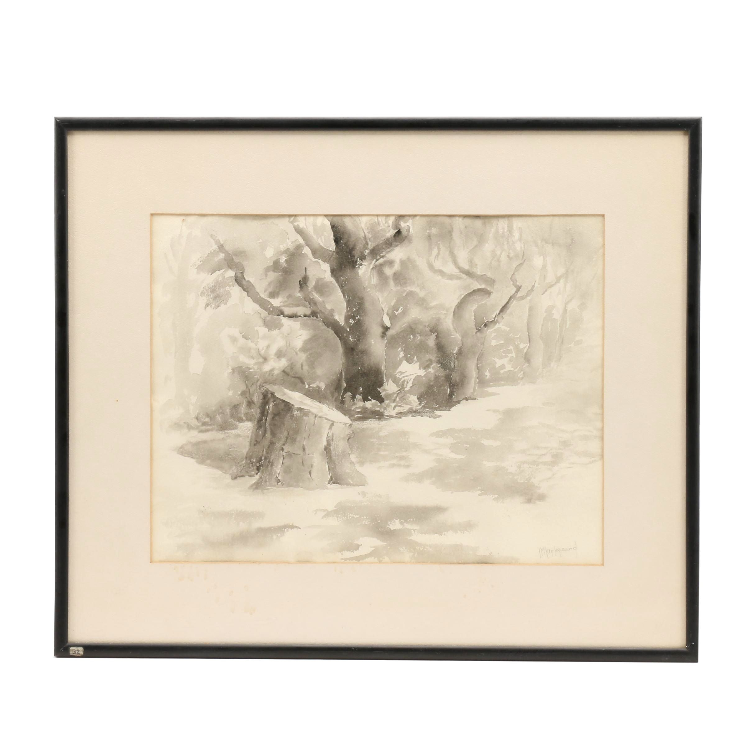 """L.M. Kirkgaard Watercolor Painting of Forest Scene """"Old Monarch Descanso"""""""
