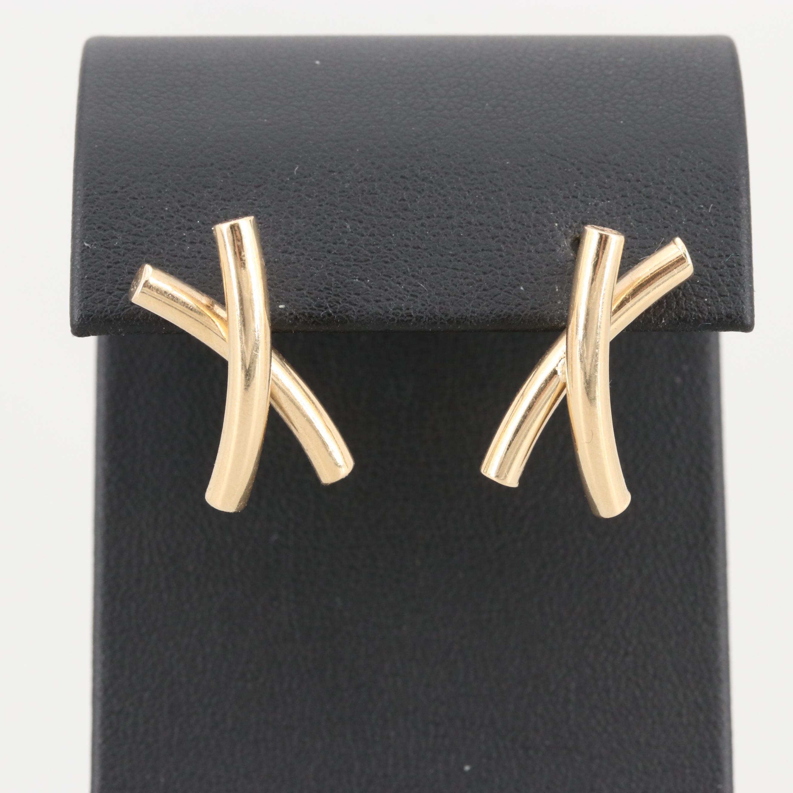 """14K Yellow Gold """"X"""" Earrings"""