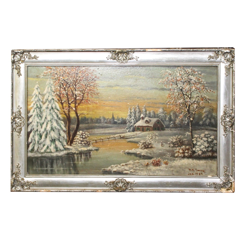 "H. N. Smith Oil Painting ""Morning: The First Fall of Snow"""