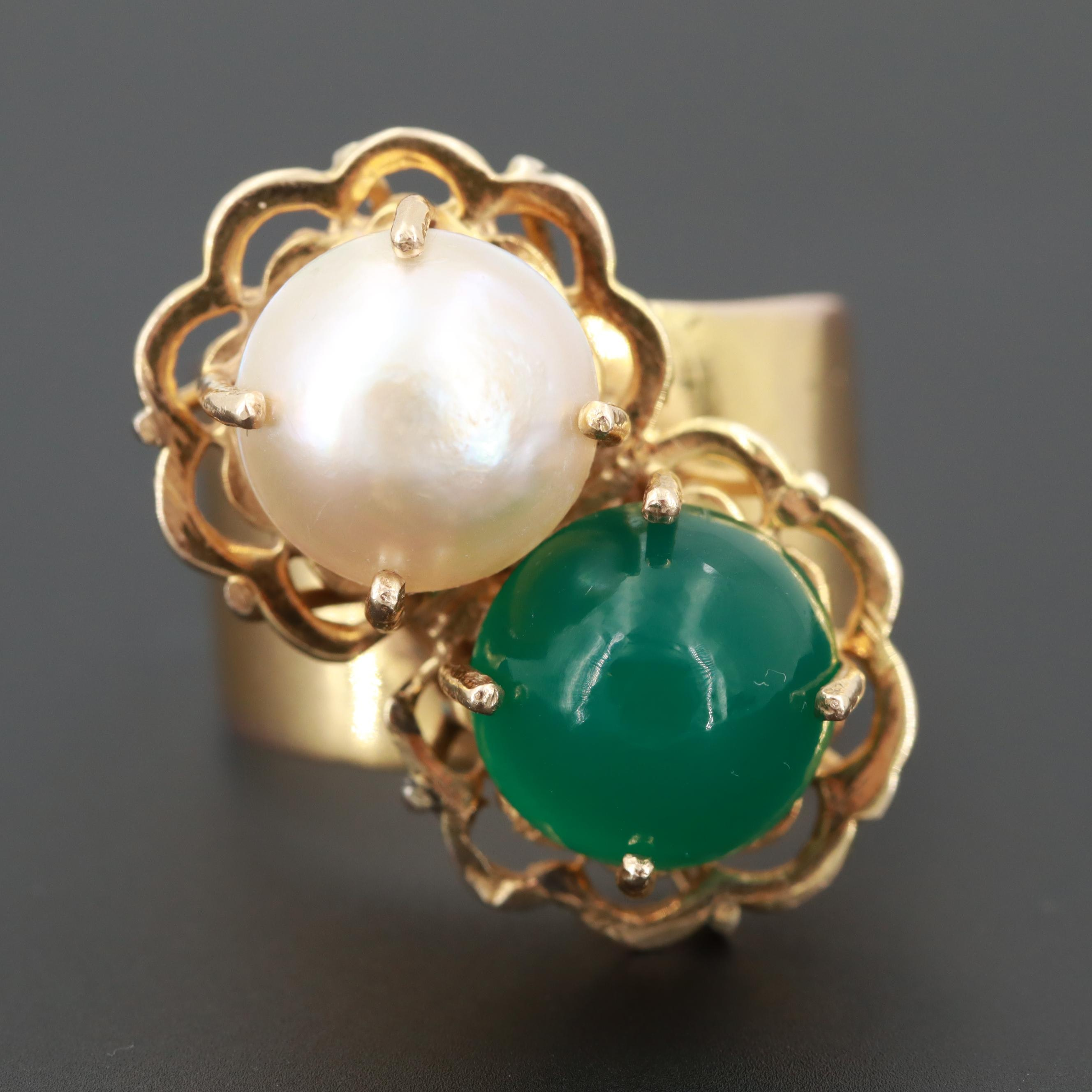 10K Yellow Gold Cultured Pearl and Chalcedony Ring