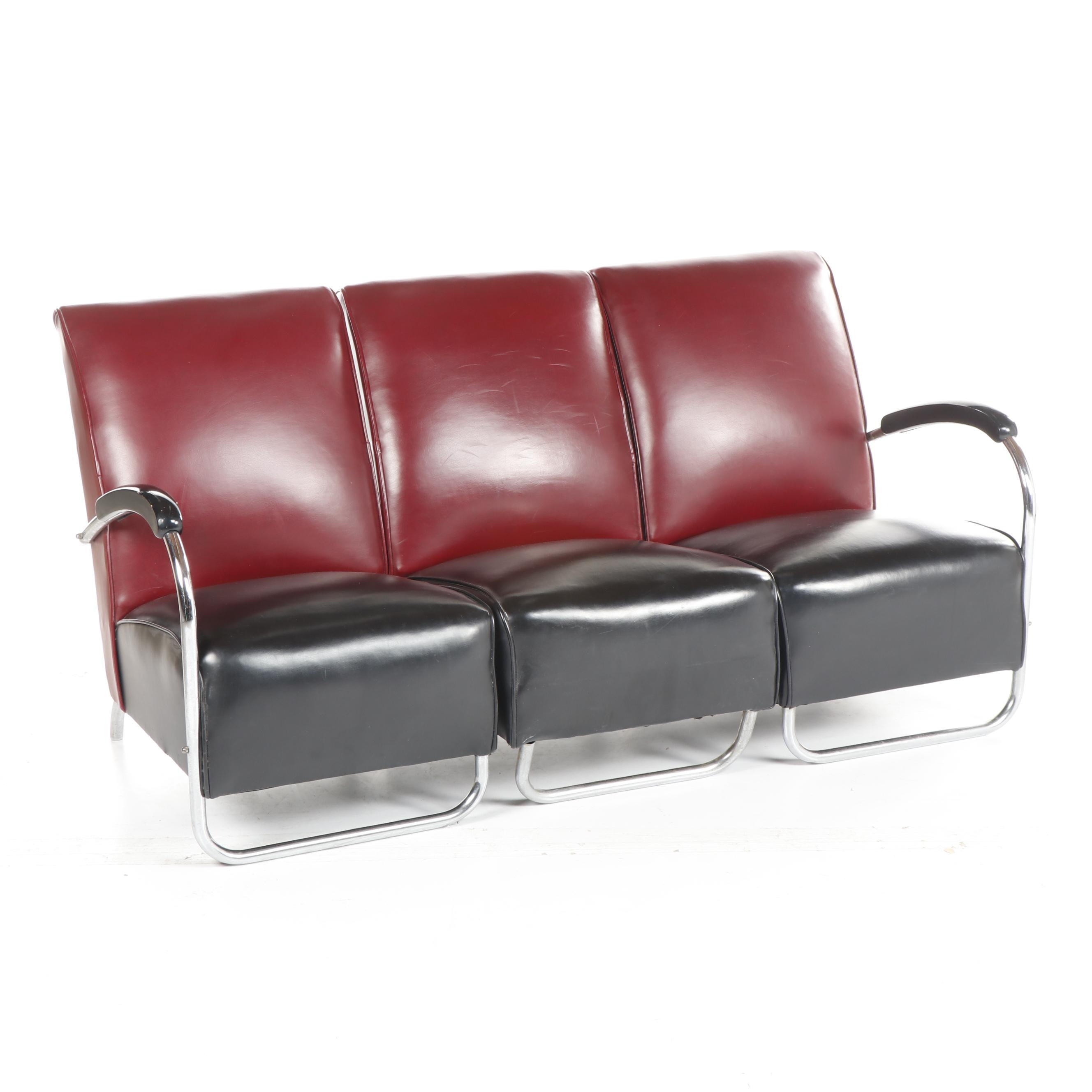 Vintage Black and Maroon Vinyl Sectional Sofa with Chrome Legs