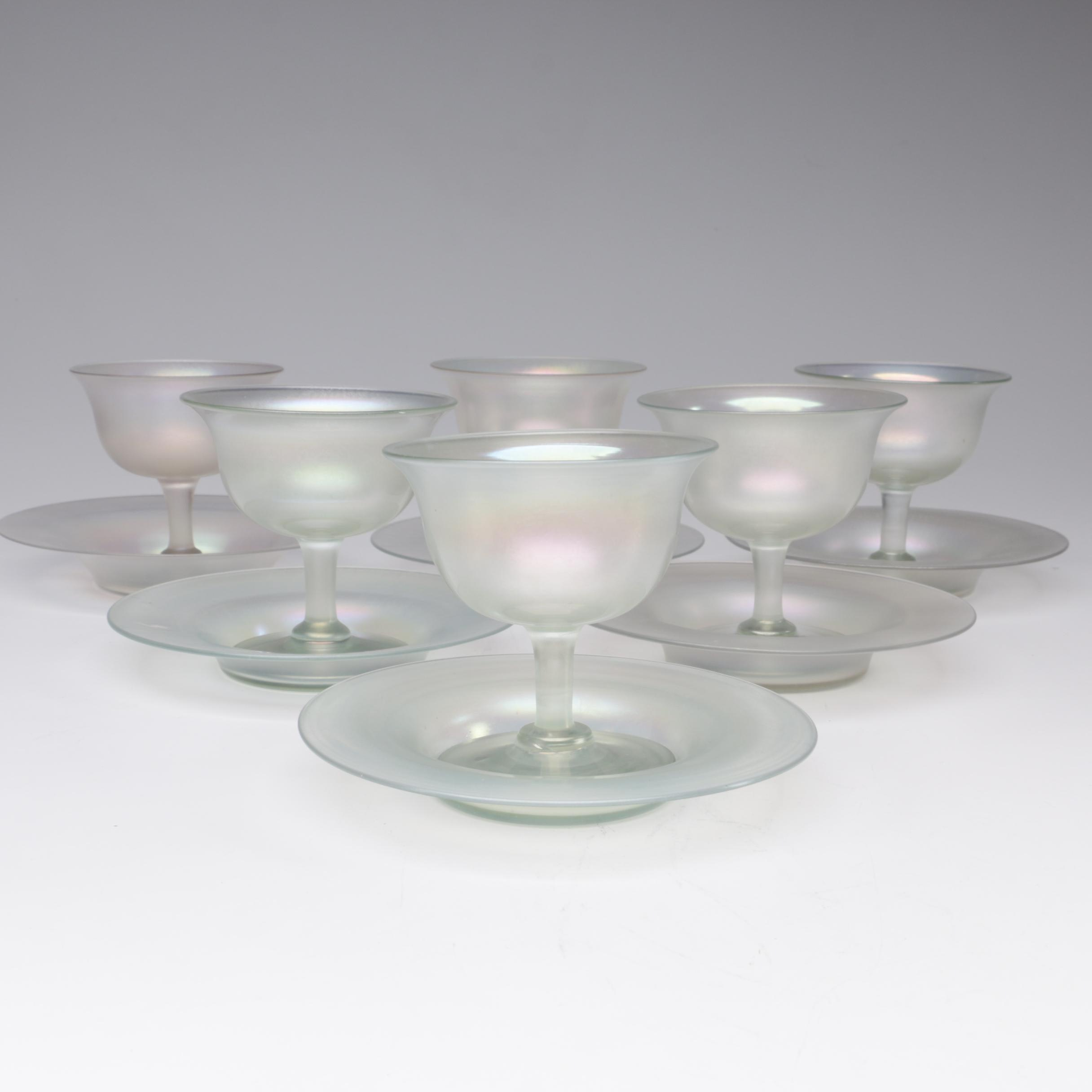 Steuben Verre de Soie Art Glass Sherbets with Underplates, Early 20th Century