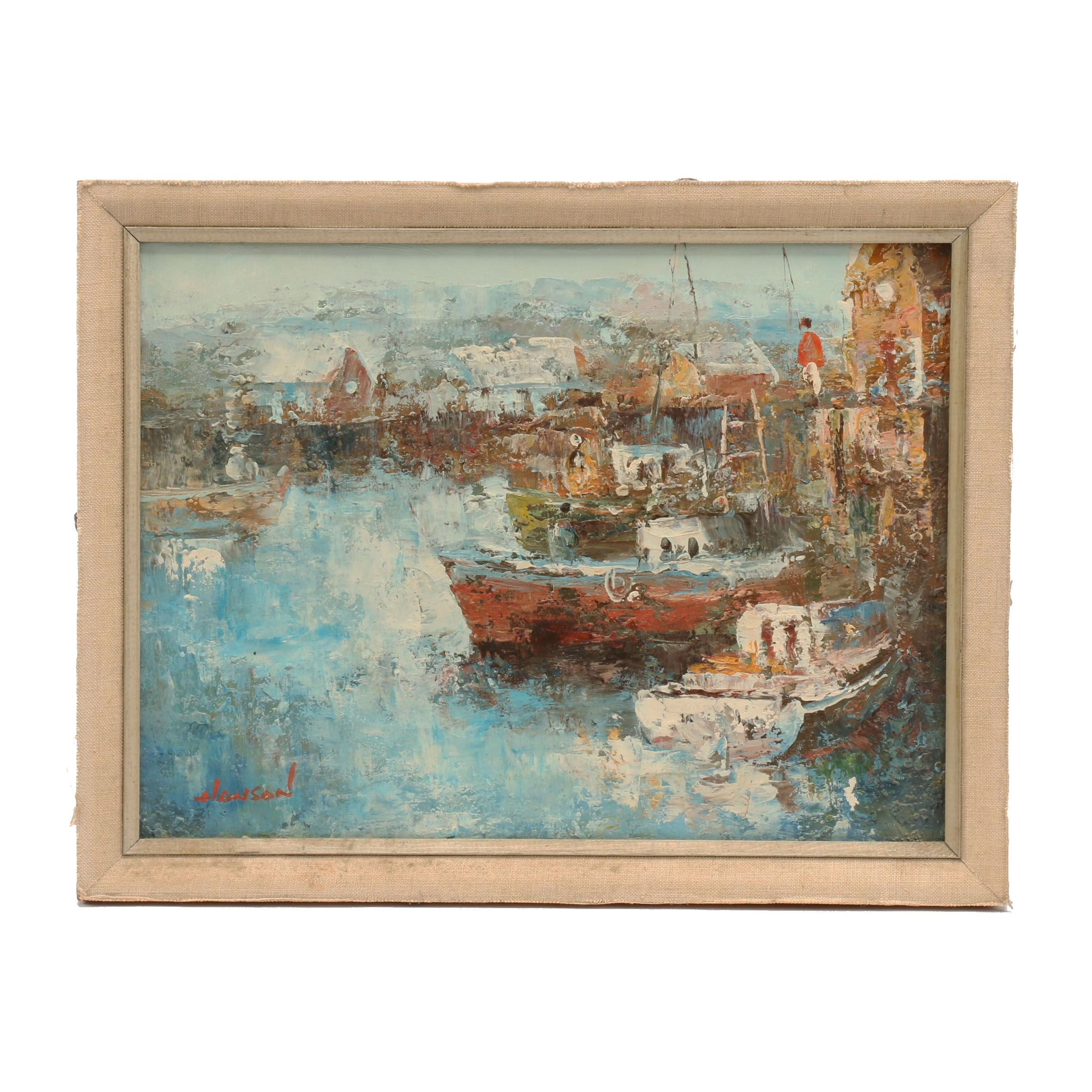 Hanson Abstract Impasto Oil Painting of Harbor Scene