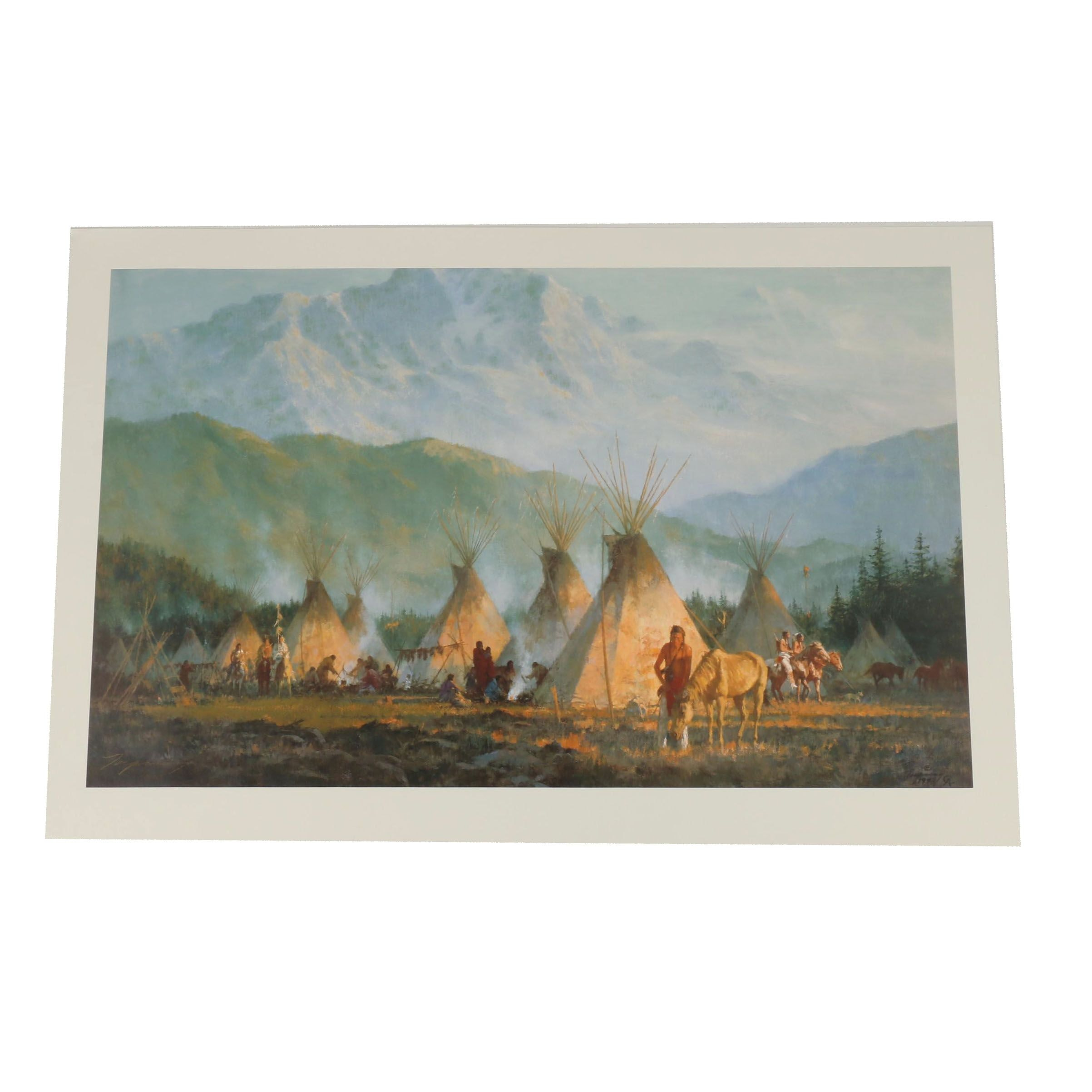 "Howard Terpning Limited Edition Offset Lithograph ""Crow Camp, 1864"""