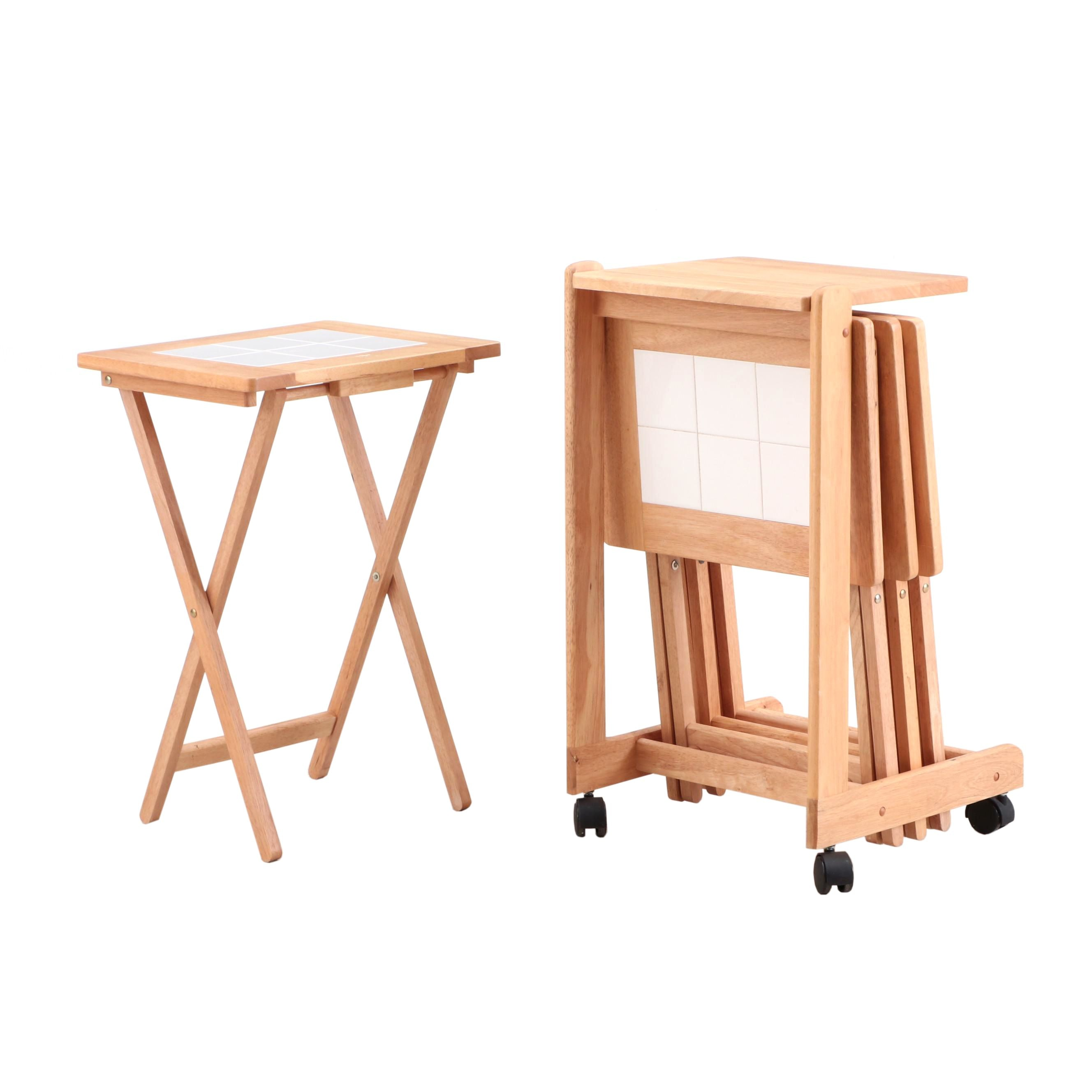 Tile Top Folding Tables and Storage Cart