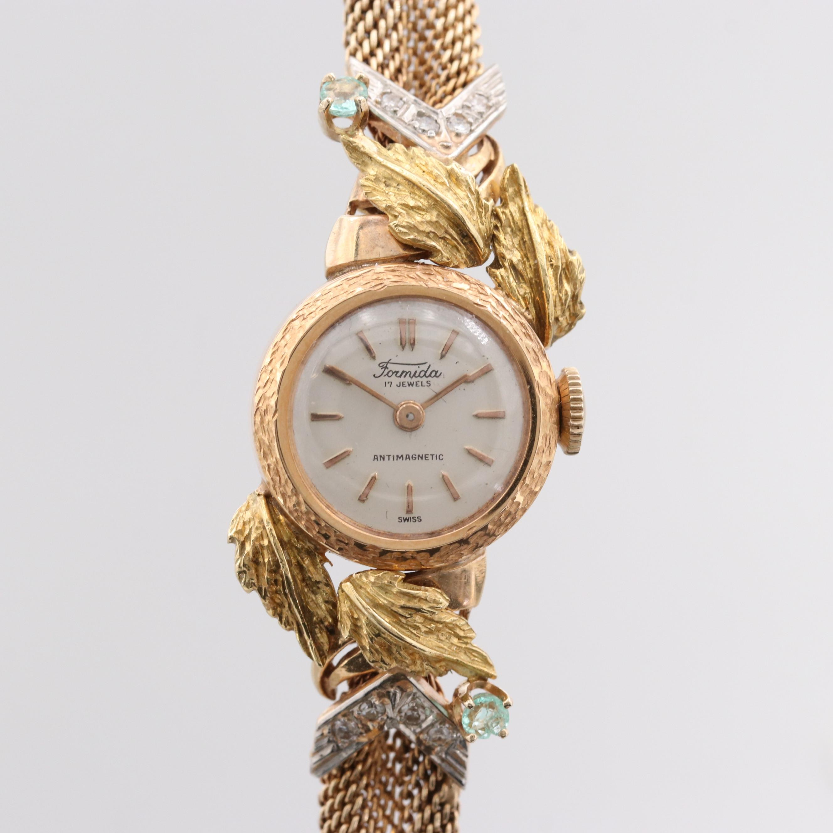18K Tri Color Gold Swiss Wristwatch With Diamonds and Aquamarines