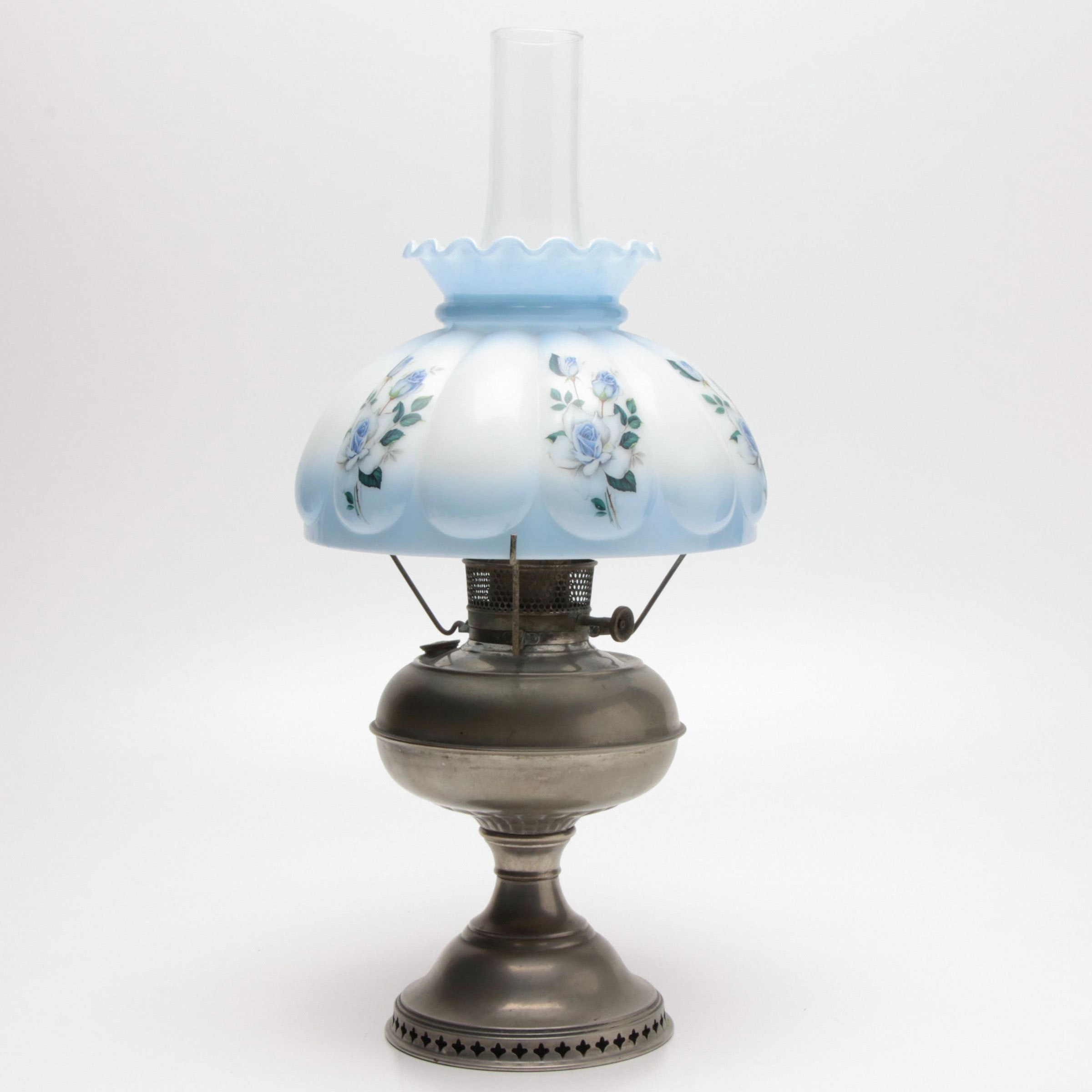 Oil Lamp with Hand-Painted Floral Glass Shade, Late 19th to Early 20th Century