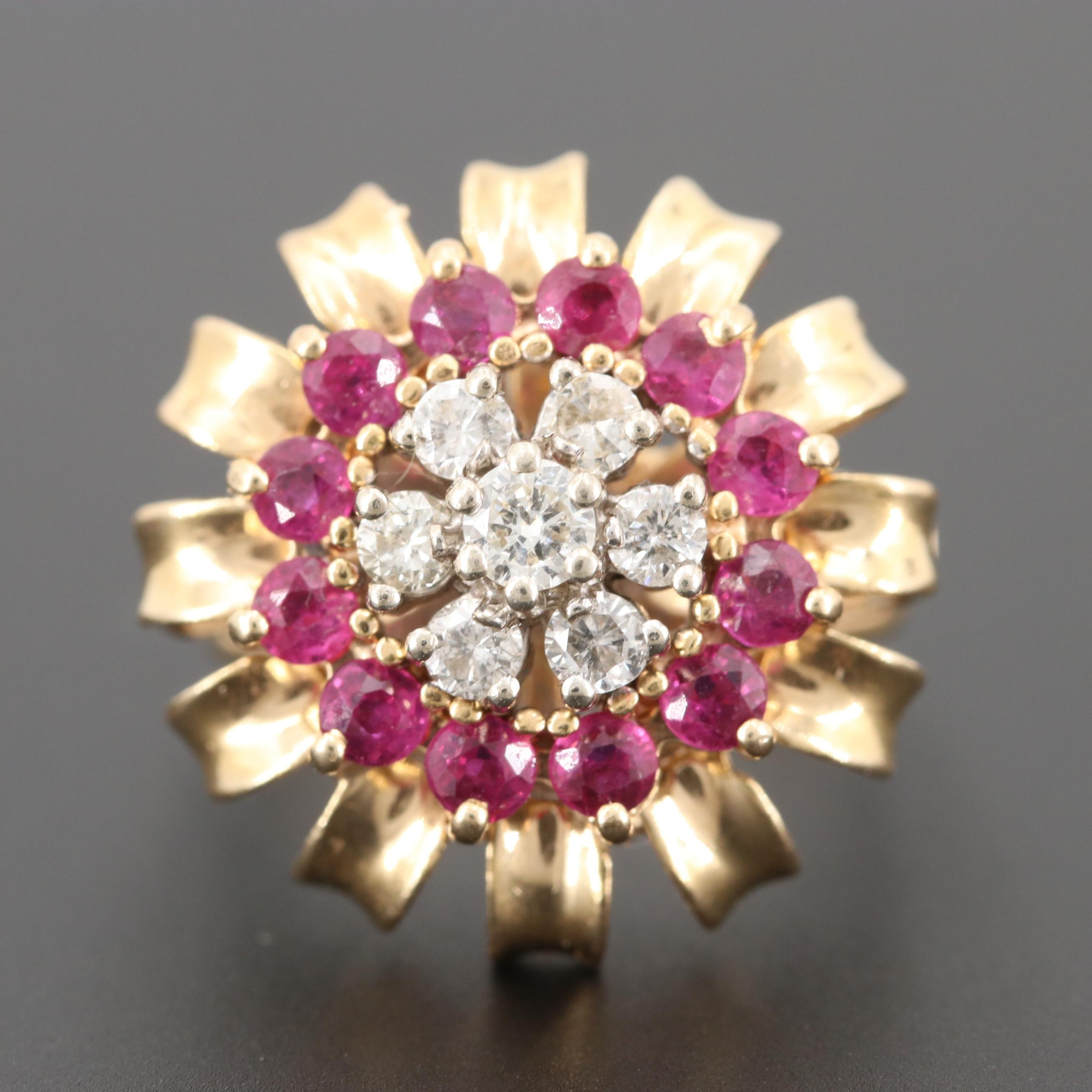 Retro 14K Yellow Gold Diamond and Ruby Floral Motif Ring