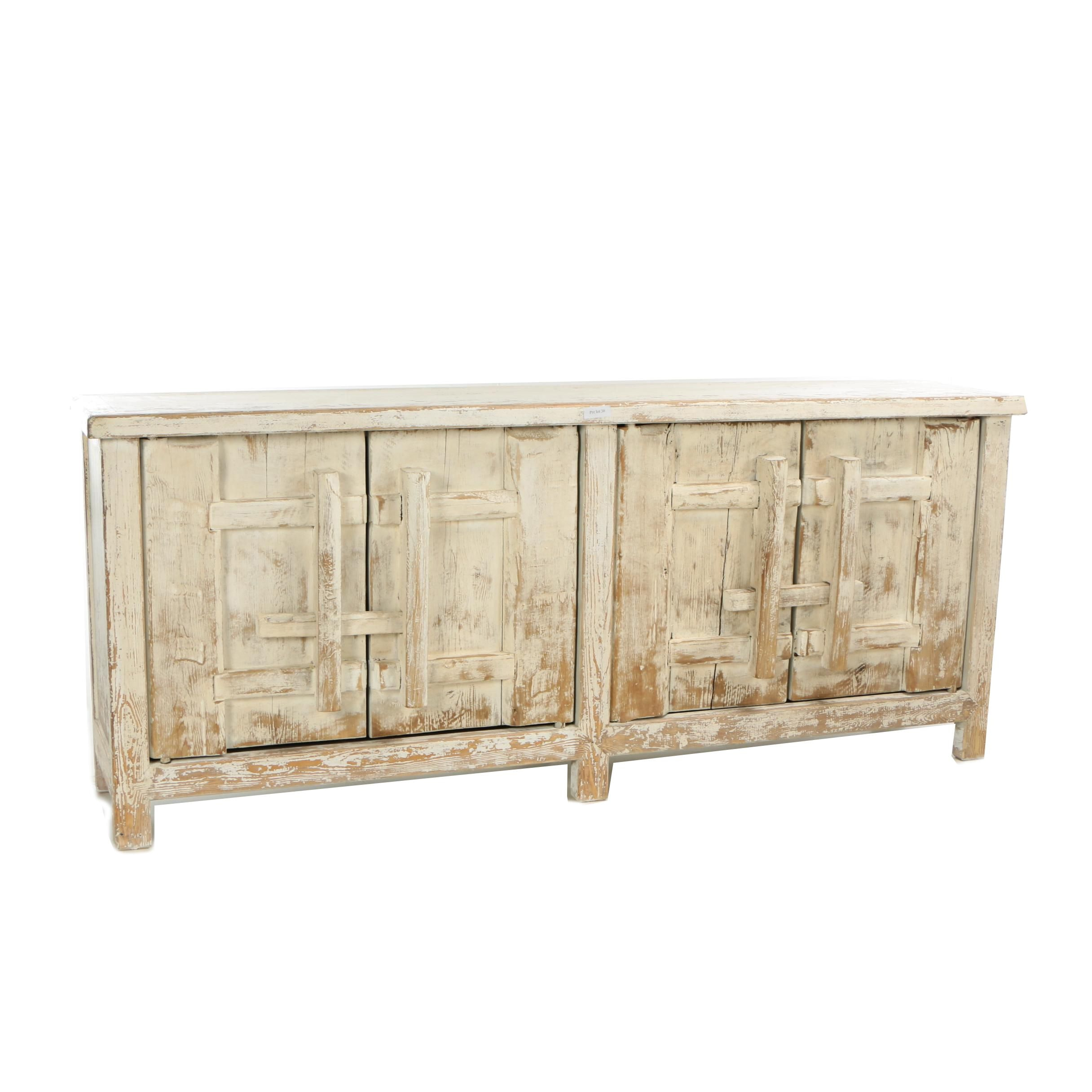 Mongolian Provincial Style Painted Pine Buffet