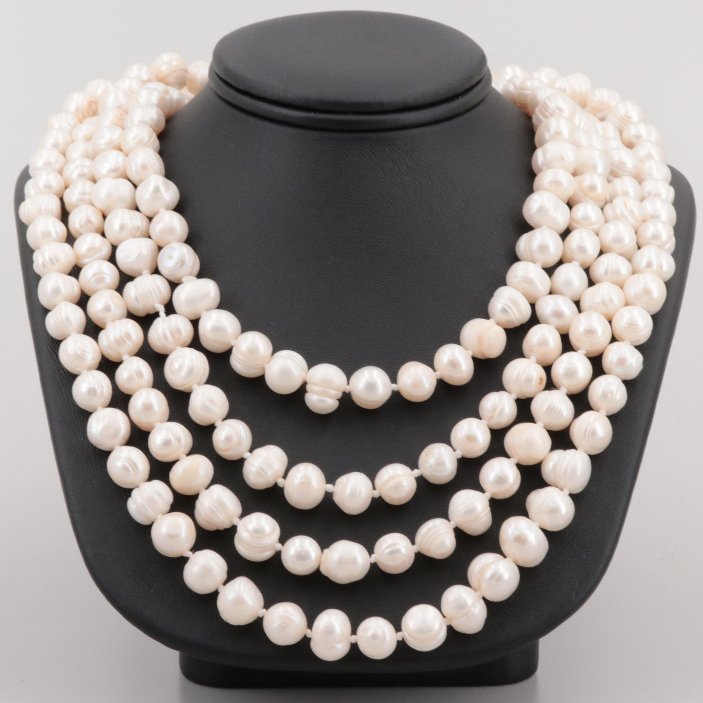 Hand Knotted Beaded Cultured Pearl Necklace