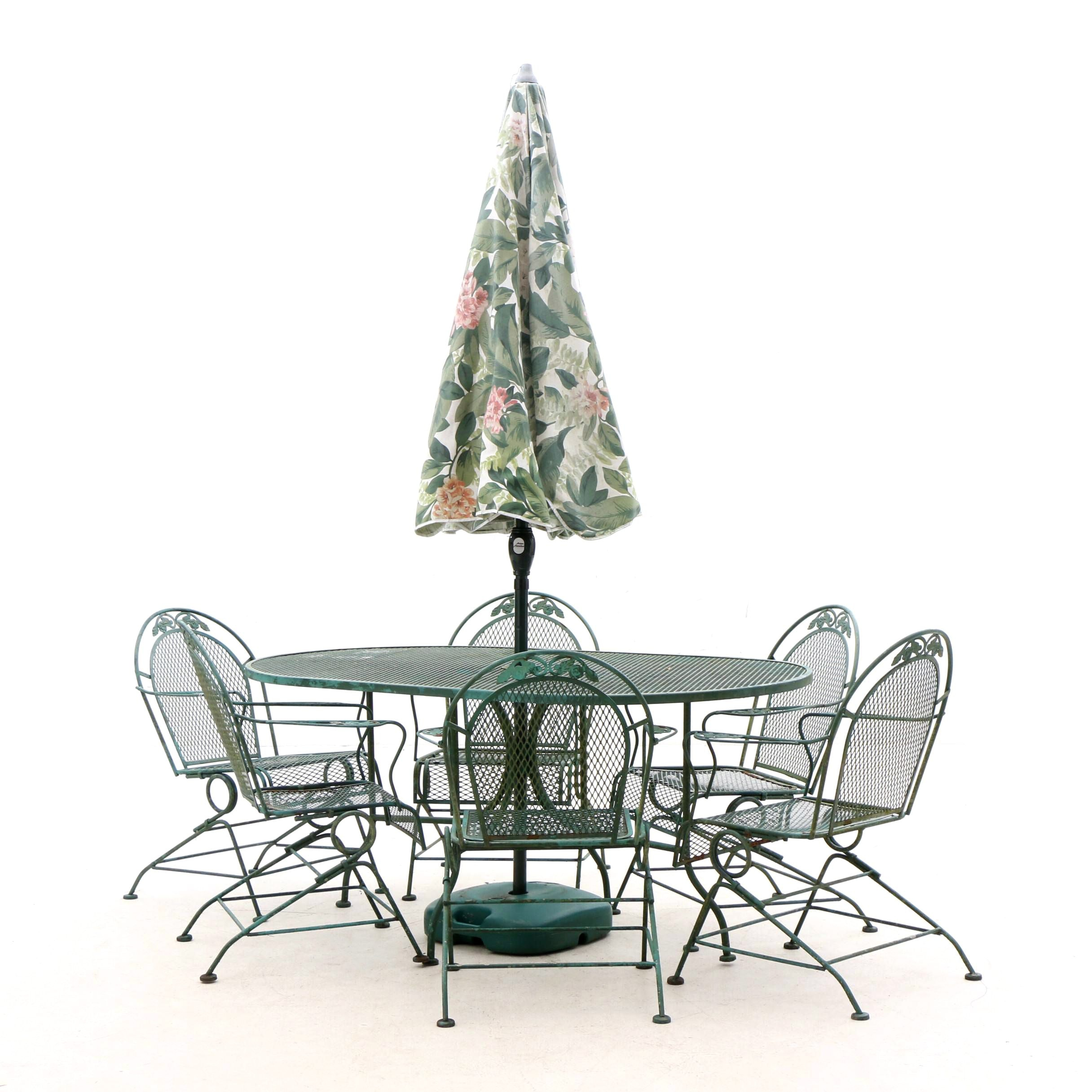 Cast Metal Patio Table, Chairs and Floral Sun Umbrella