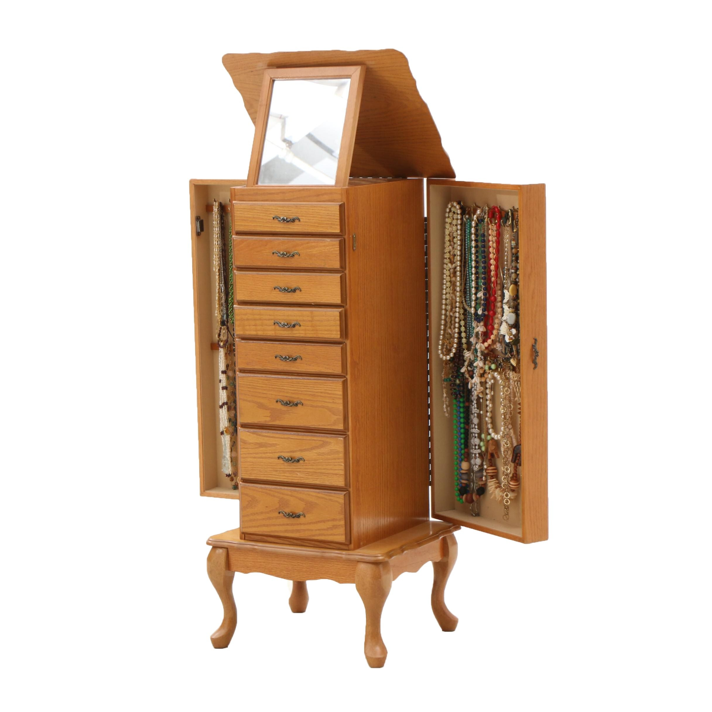 Jewelry Armoire with Costume Jewelry Collection