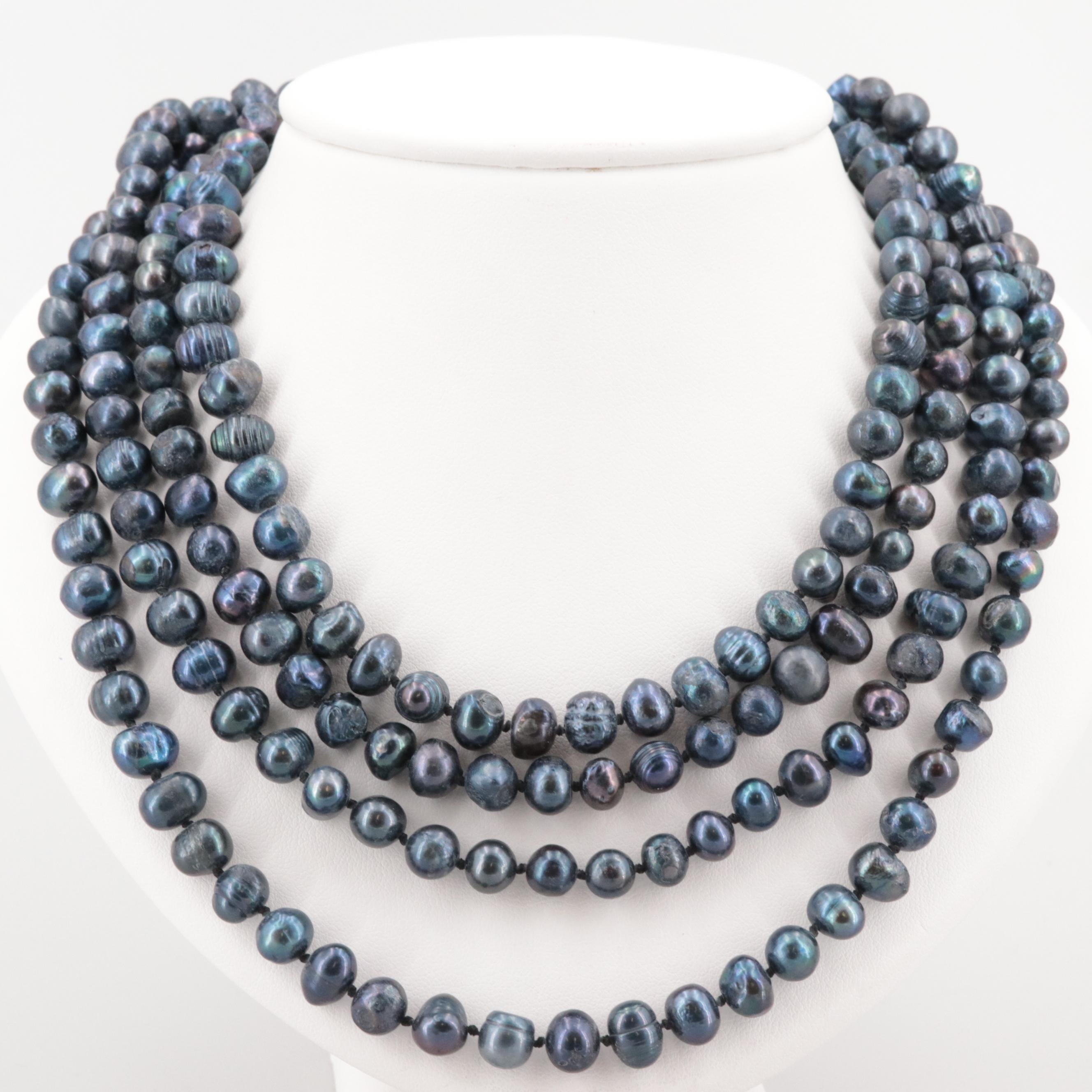 Hand Knotted Beaded Cultured Pearl Endless Necklace