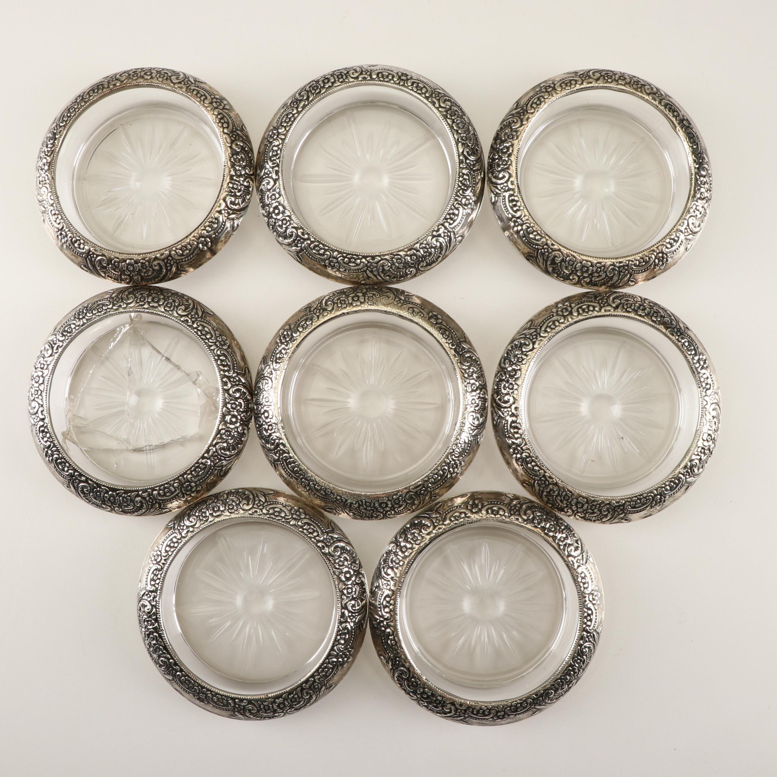 Frank M. Whiting American Sterling and Glass Coasters