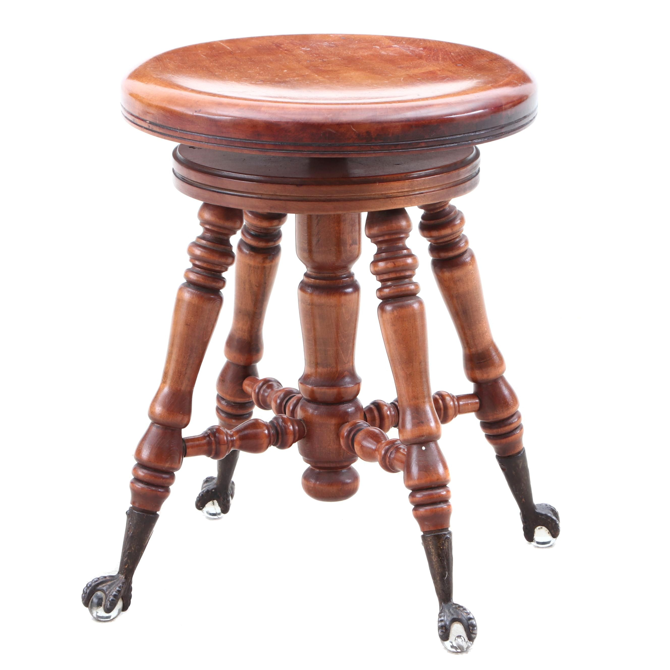 Late Victorian Maple Piano Stool