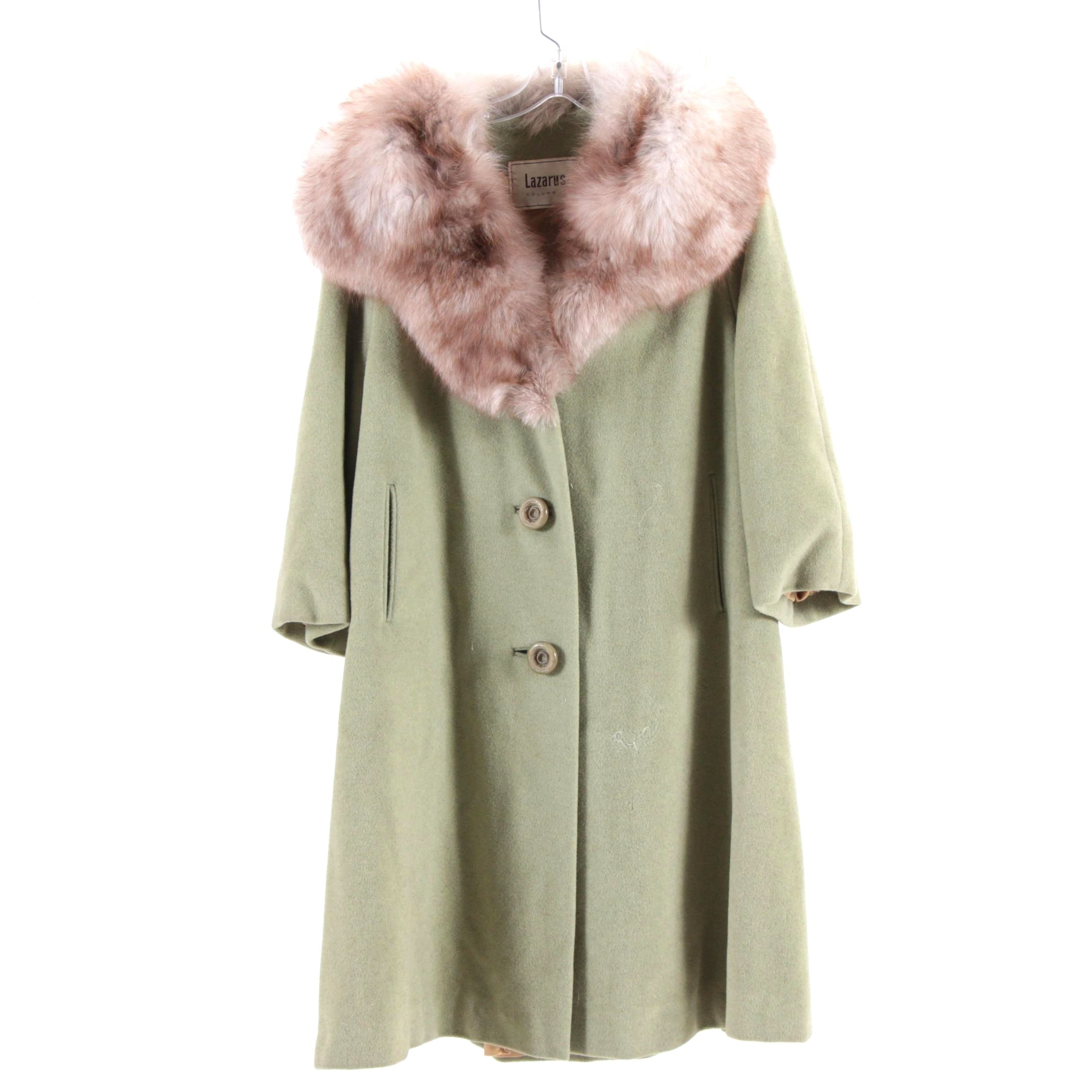 Surrella for Diane Original Wool Blend Coat with Fox Fur Collar, Vintage