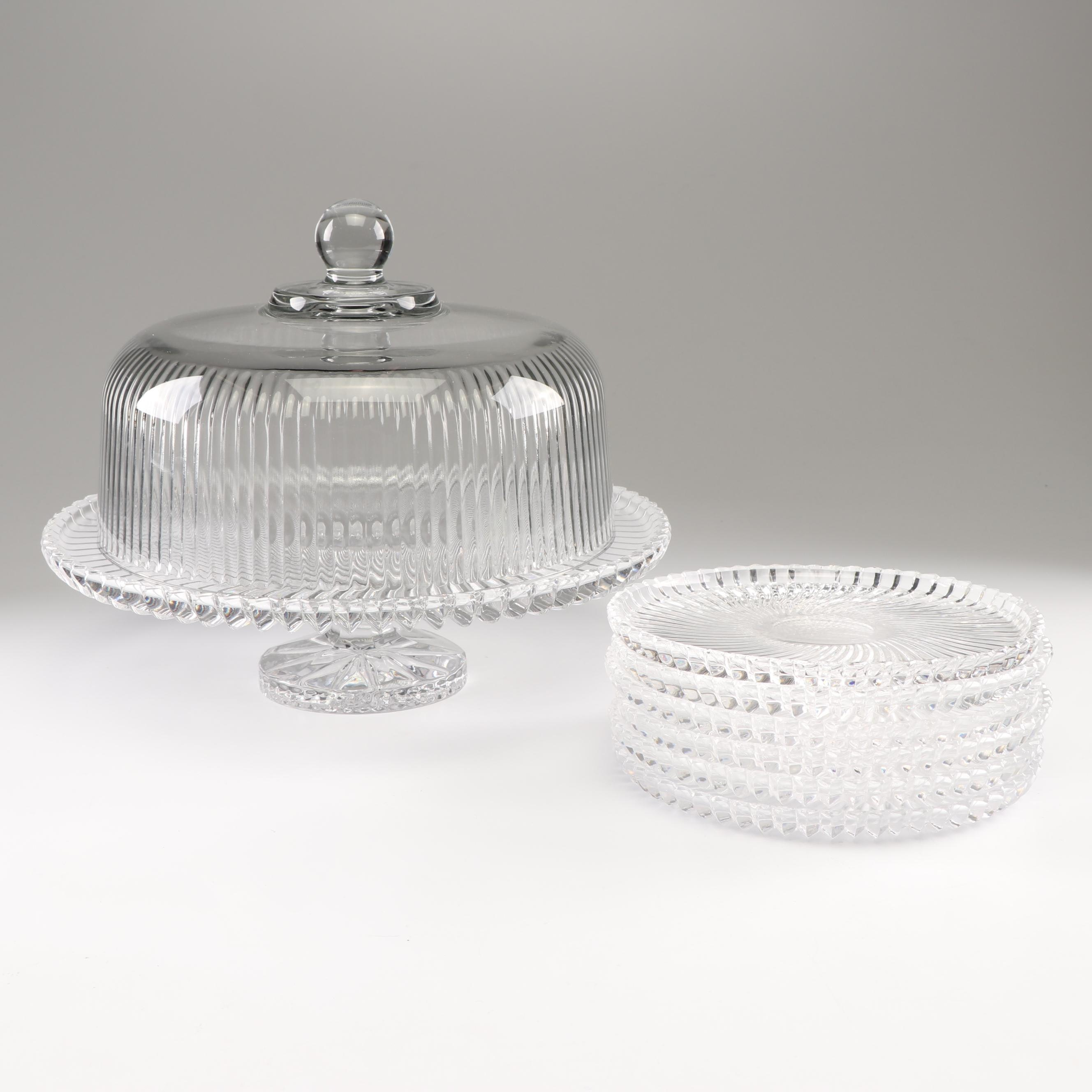 Crystal Cake Stand and Dessert Plates with Glass Cake Dome