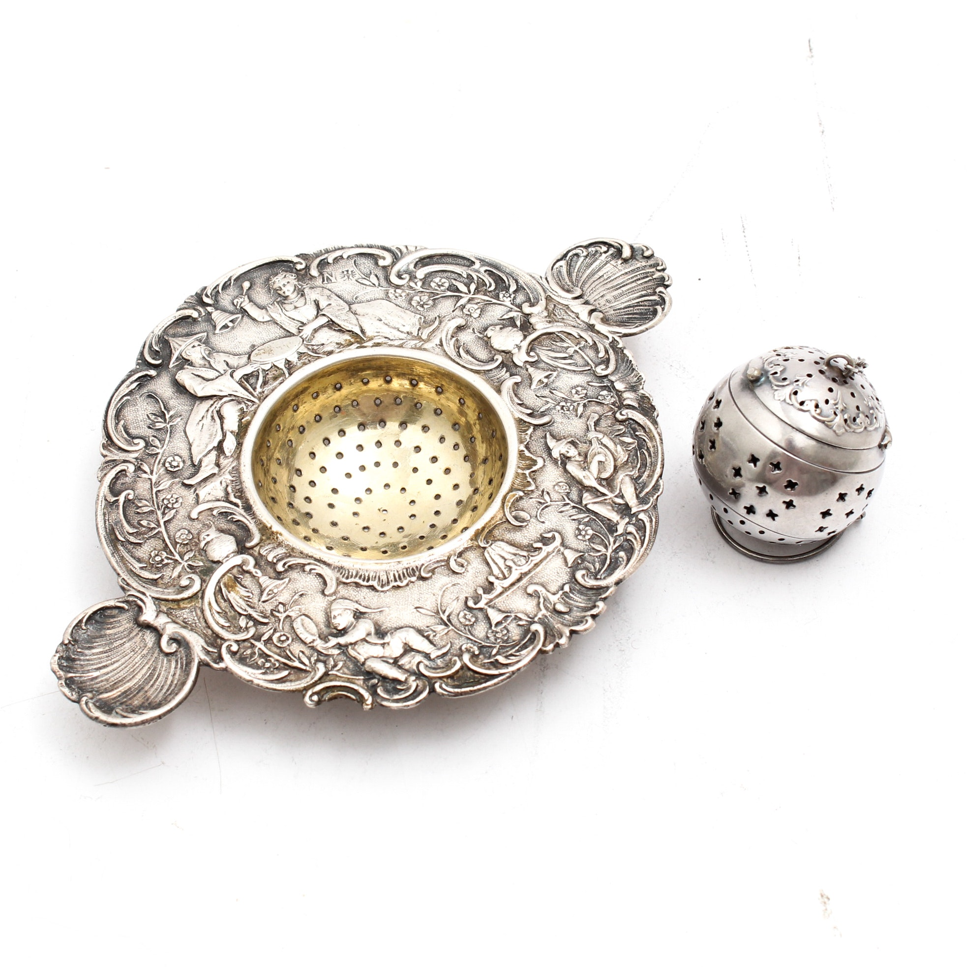 Sterling Silver Victorian Chinoisere Tea Strainer and Tea Ball