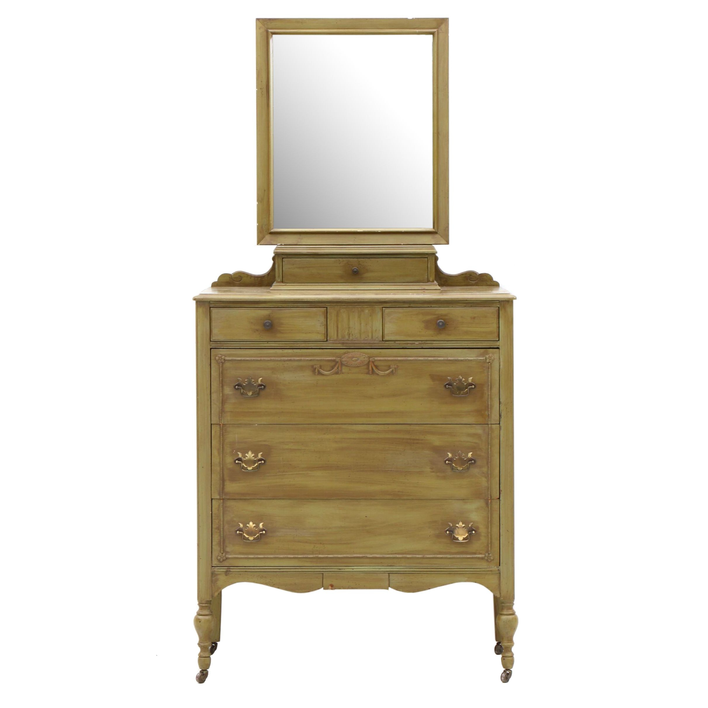 Federal Style Dresser in Green Paint Finish