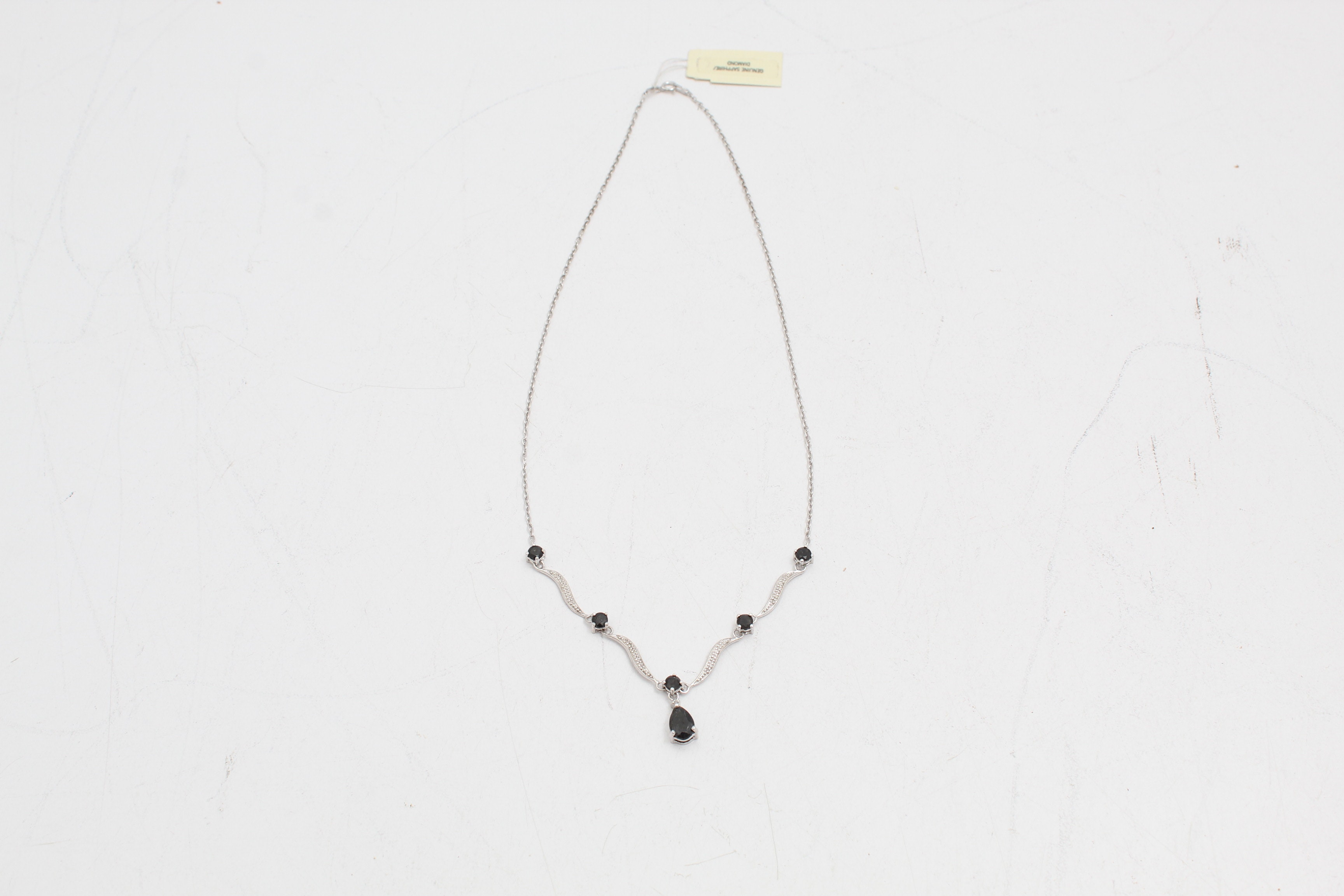Sterling Silver Necklace with Sapphire and Diamond