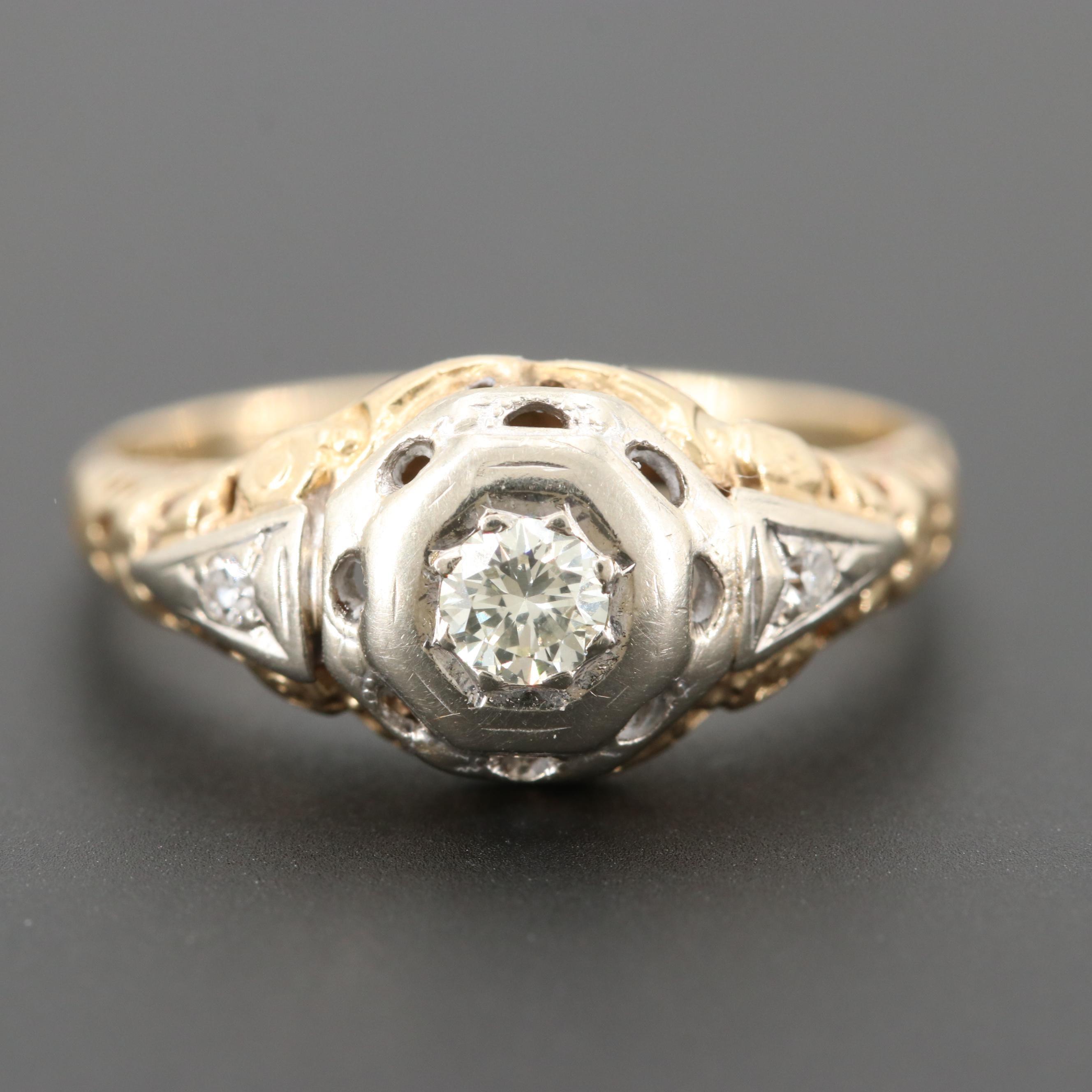 Circa 1930 14K White and Yellow Gold Diamond Ring