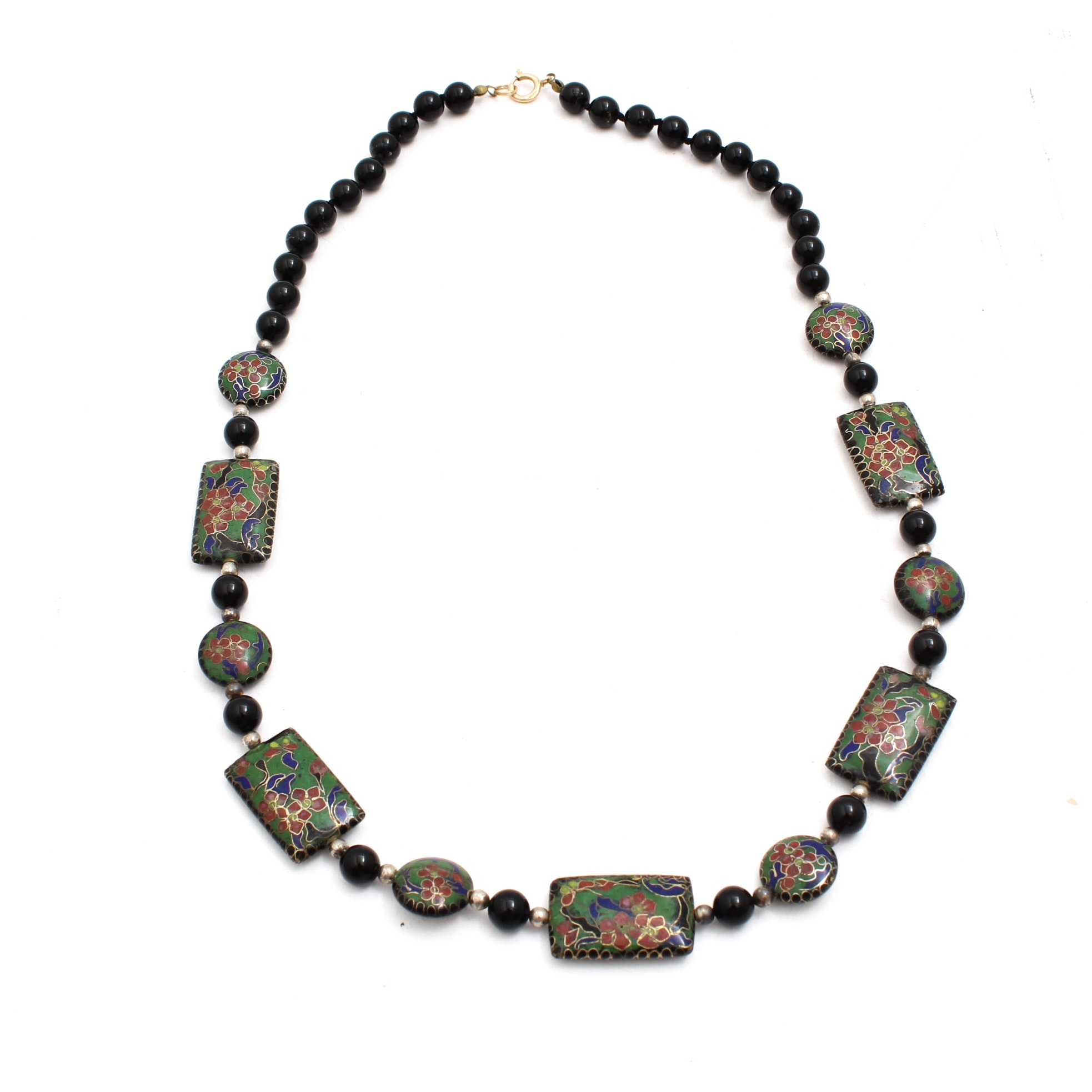 Black Onyx and Cloisonne Bead Necklace with Gold Filled Clasp