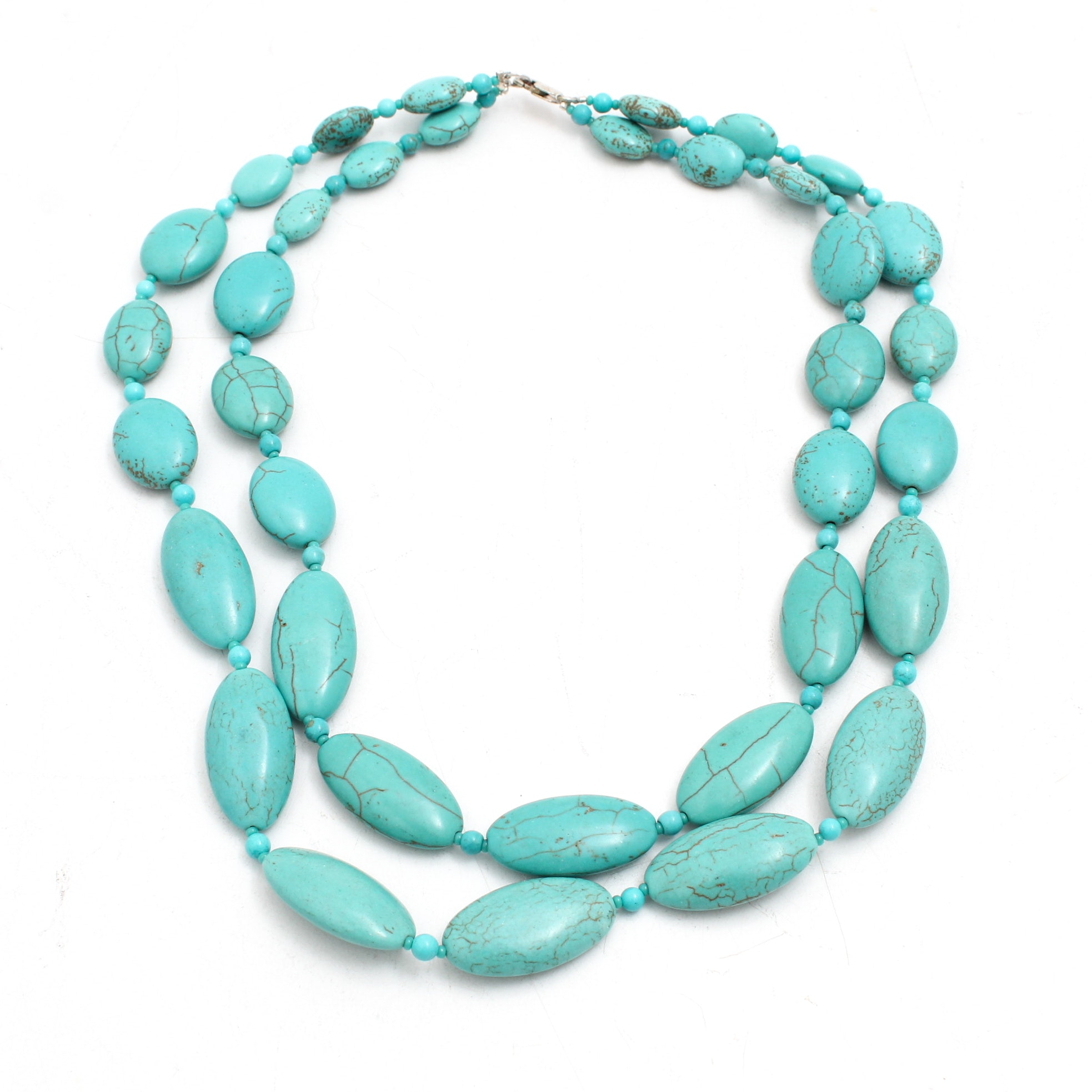 Imitation Turquoise Bead Necklace with Sterling Silver Findings